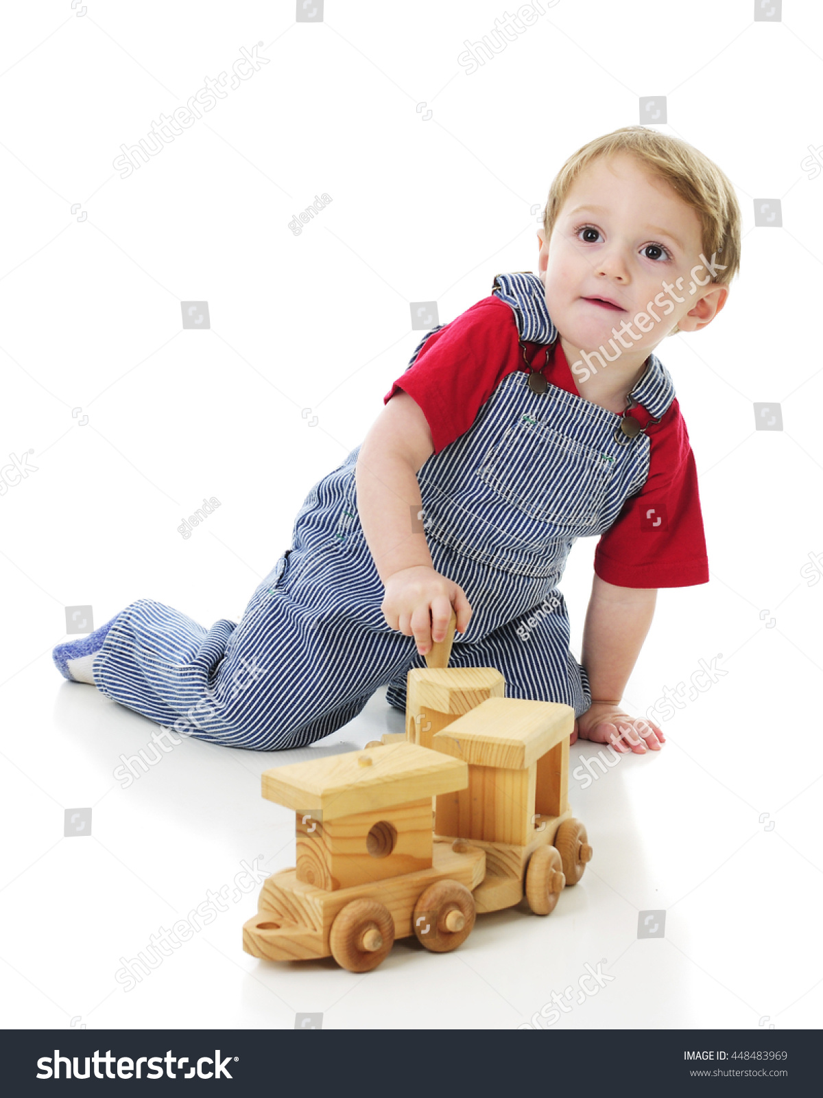Adorable 2yearold Engineer Overalls Looking He Stock
