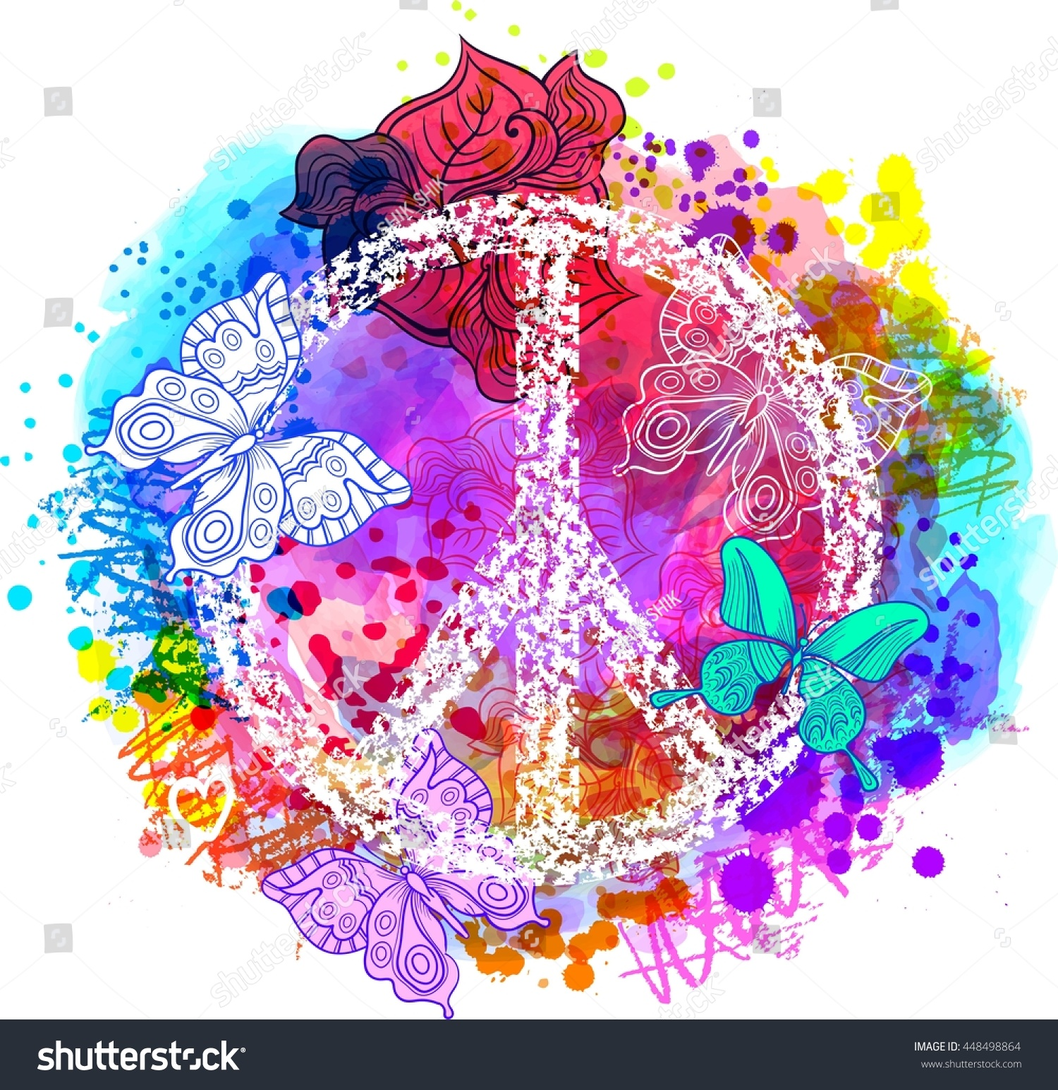 Wallpaper Of Peace: Peace Hippie Symbol Over Colorful Background Stock Vector