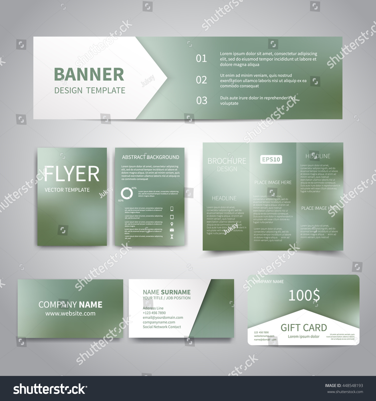 banner flyers brochure business cards gift card design banner flyers brochure business cards gift card design templates set green