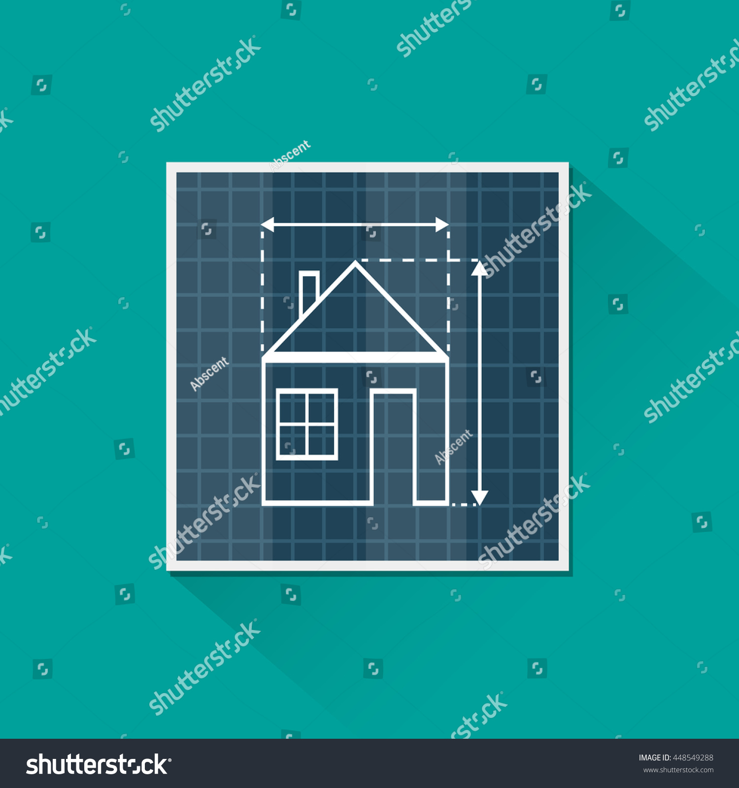 Paper house plan dimension lines blueprint stock vector 448549288 paper house plan with dimension lines blueprint drawing in shape of house sign architecture malvernweather Gallery
