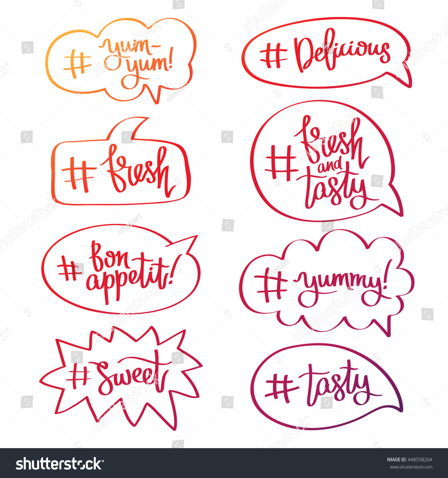 Set quotes icons bubble words hashtags stock vector