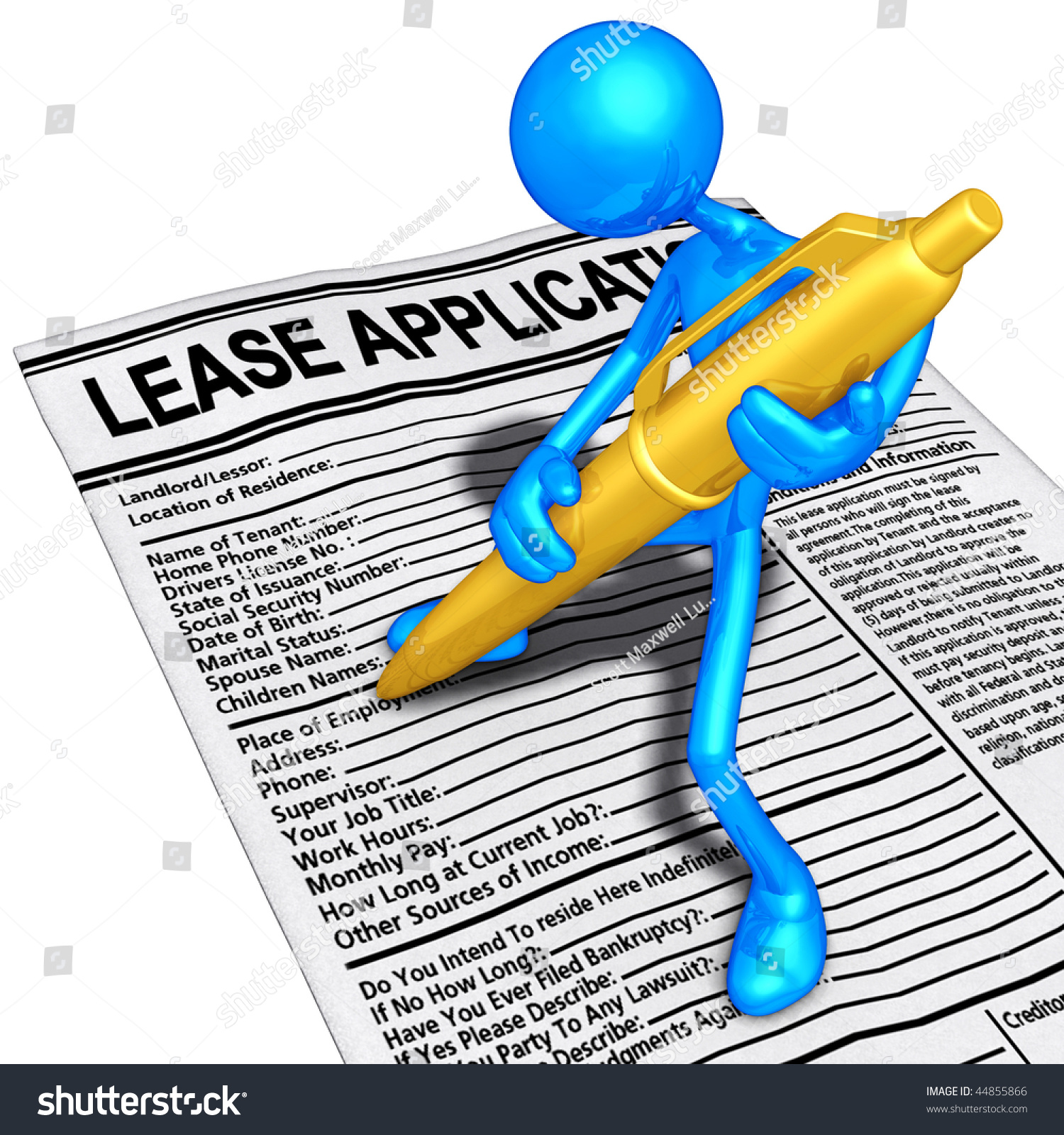filling out lease application gold pen stock illustration  filling out a lease application gold pen
