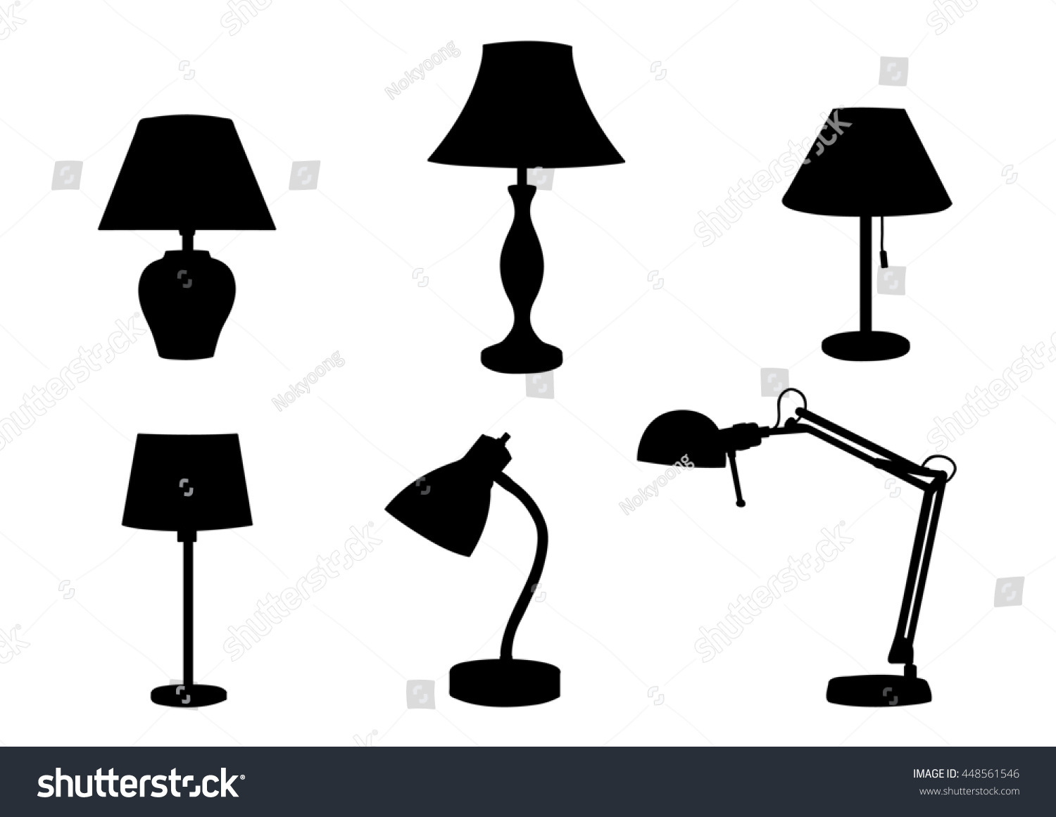 Lamps Furniture Set Light Design Electric Stock Illustration ...