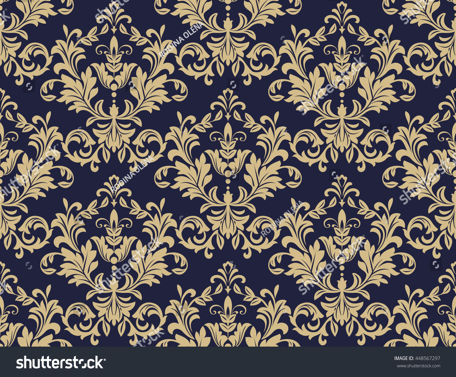 Floral pattern wallpaper baroque damask seamless stock for Dark blue and gold wallpaper