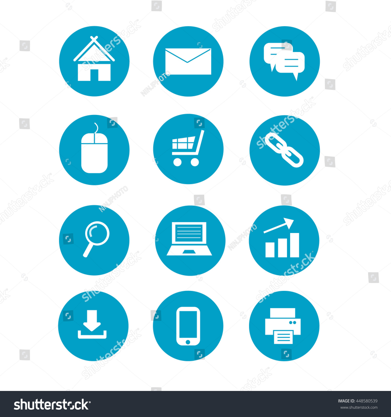 Web Icons Set Vector Illustration Collection Stock Vector