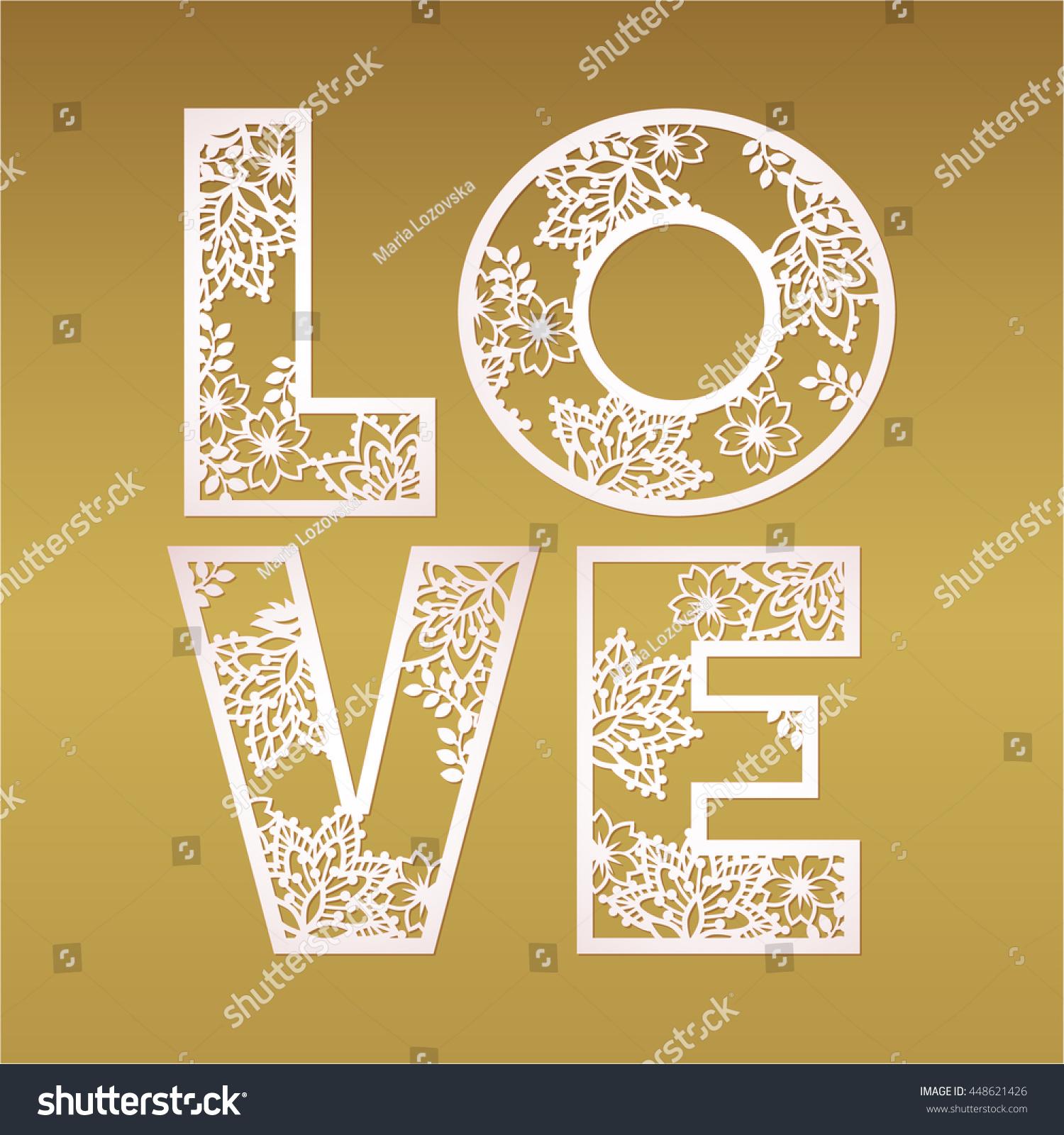 Paper Cutout Love Design Over Gold Stock Vector 448621426 Shutterstock