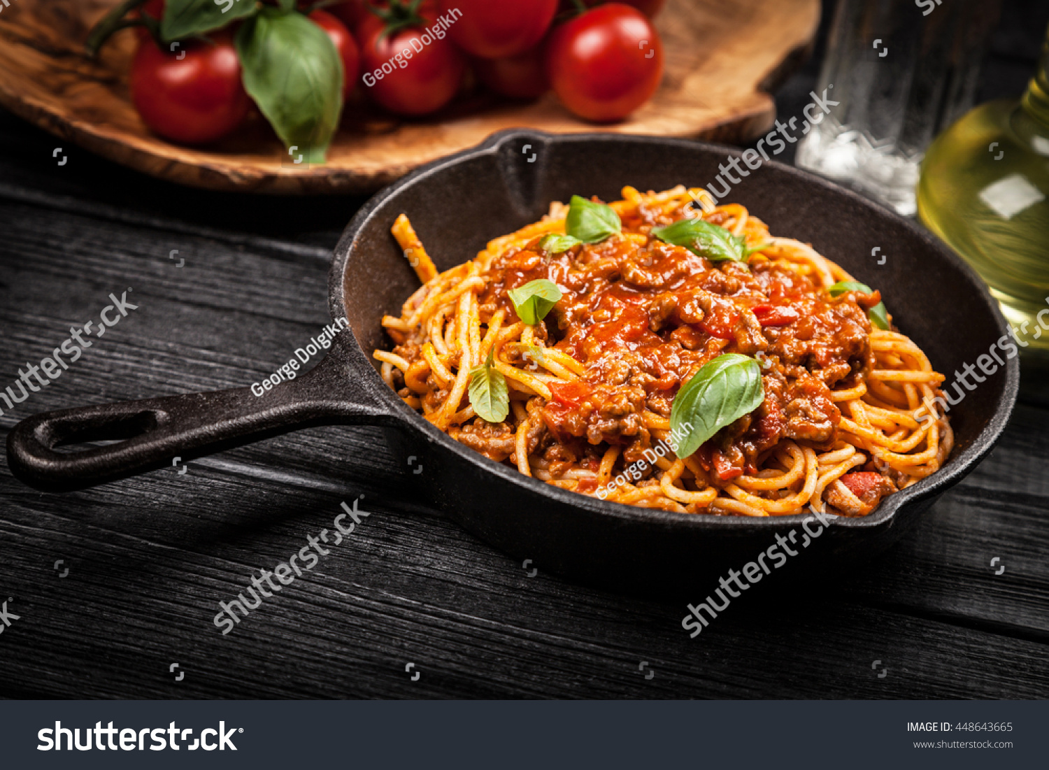 traditional spaghetti bolognese stock photo 448643665 shutterstock. Black Bedroom Furniture Sets. Home Design Ideas
