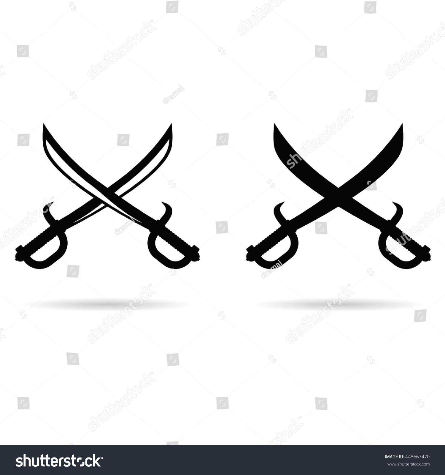 pirate sword set black color illustration stock vector 448667470
