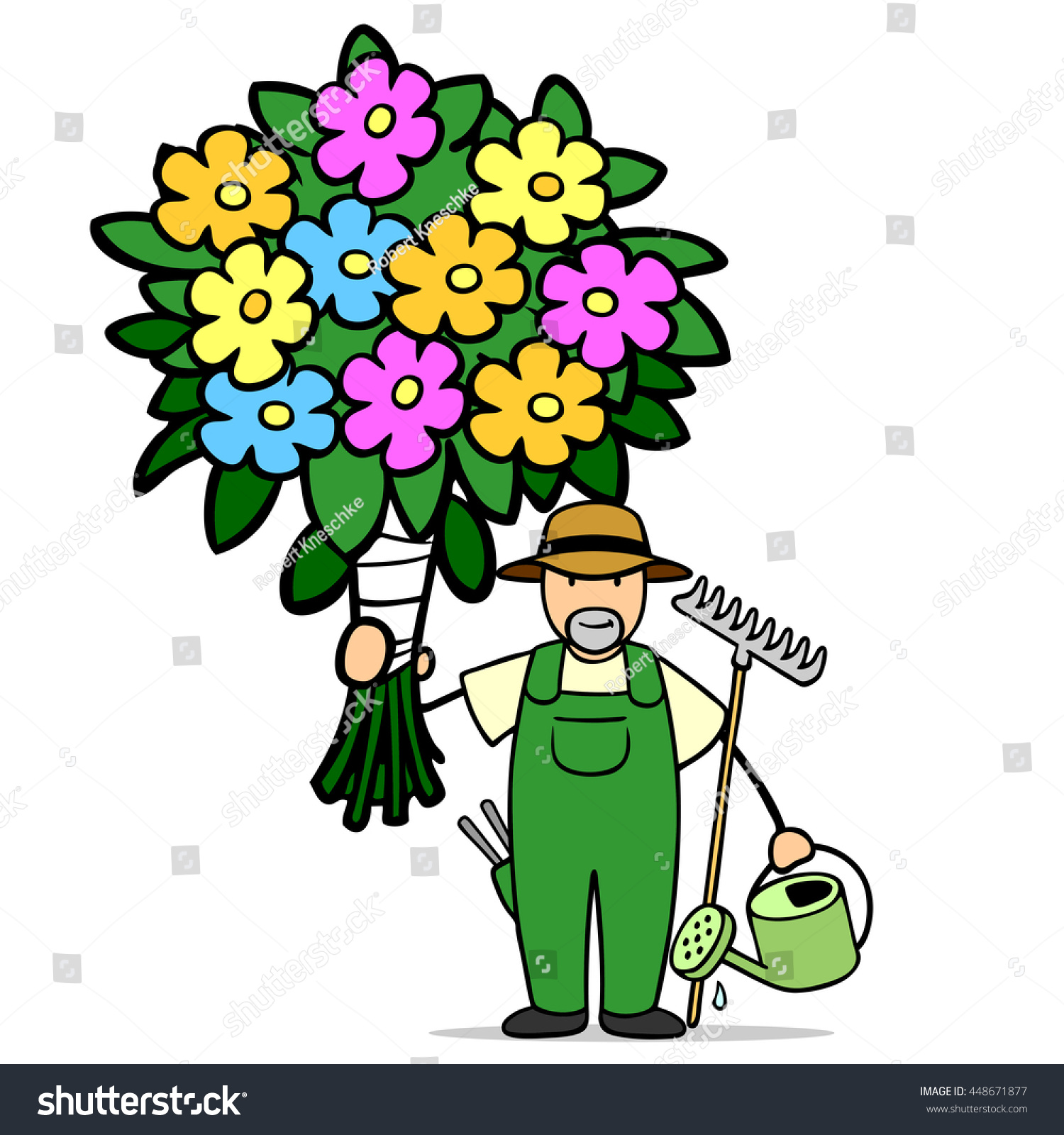 Cartoon Florist Big Bouquet Colorful Flowers Stock Illustration ...