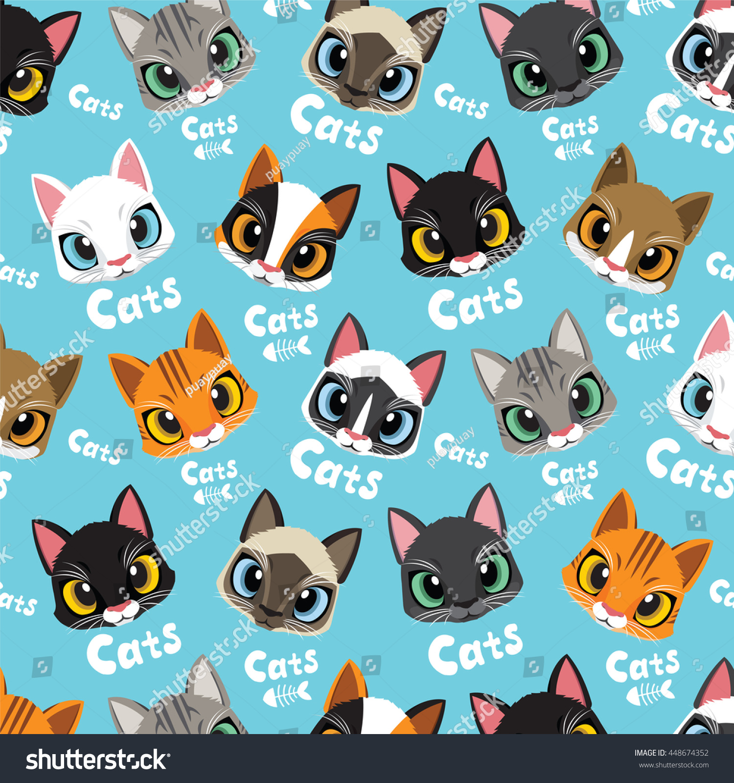 cute cats vector pattern illustrations on stock vector