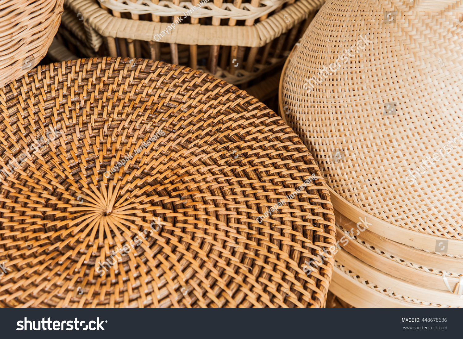 Rattan Basket Weaving Patterns : Woven rattan round weaving stock photo