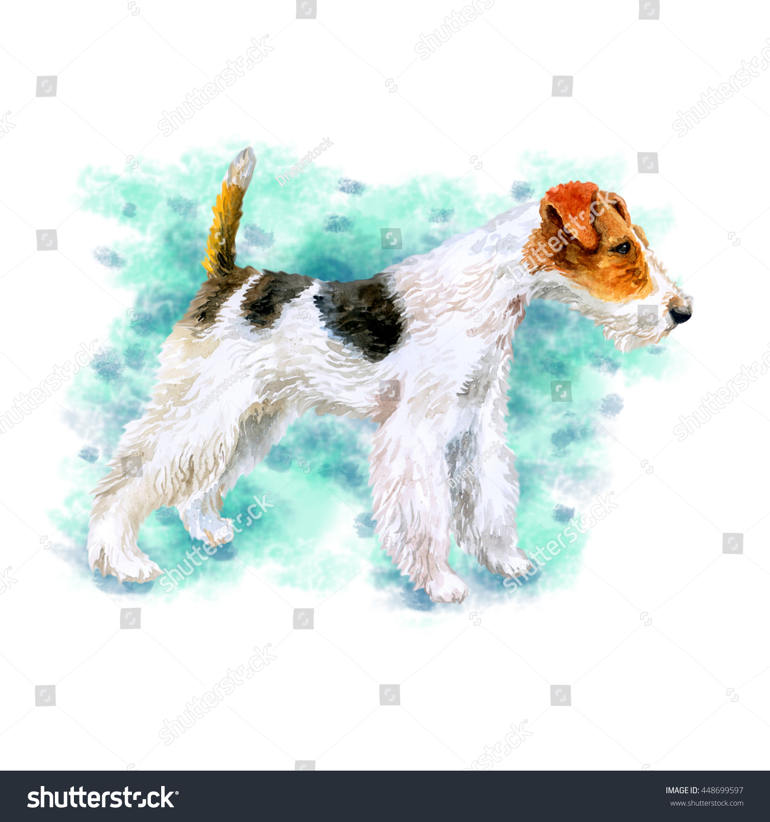 Watercolor Closeup Portrait Cute Wire Fox Stock Illustration ...