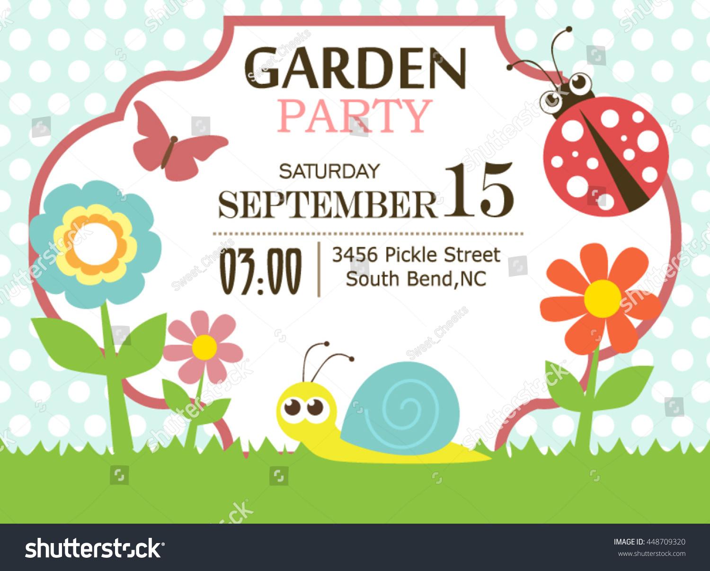 Garden party invitation stock vector 448709320 shutterstock garden party invitation stopboris Choice Image