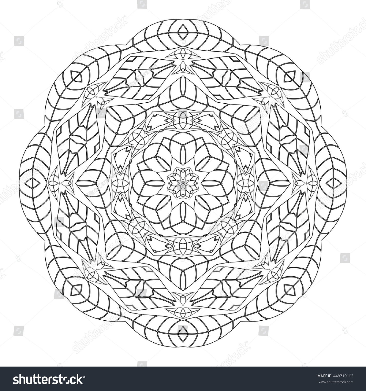 coloring page monochrome circular oriental pattern coloring book ethnicity round ornament preview save to a lightbox