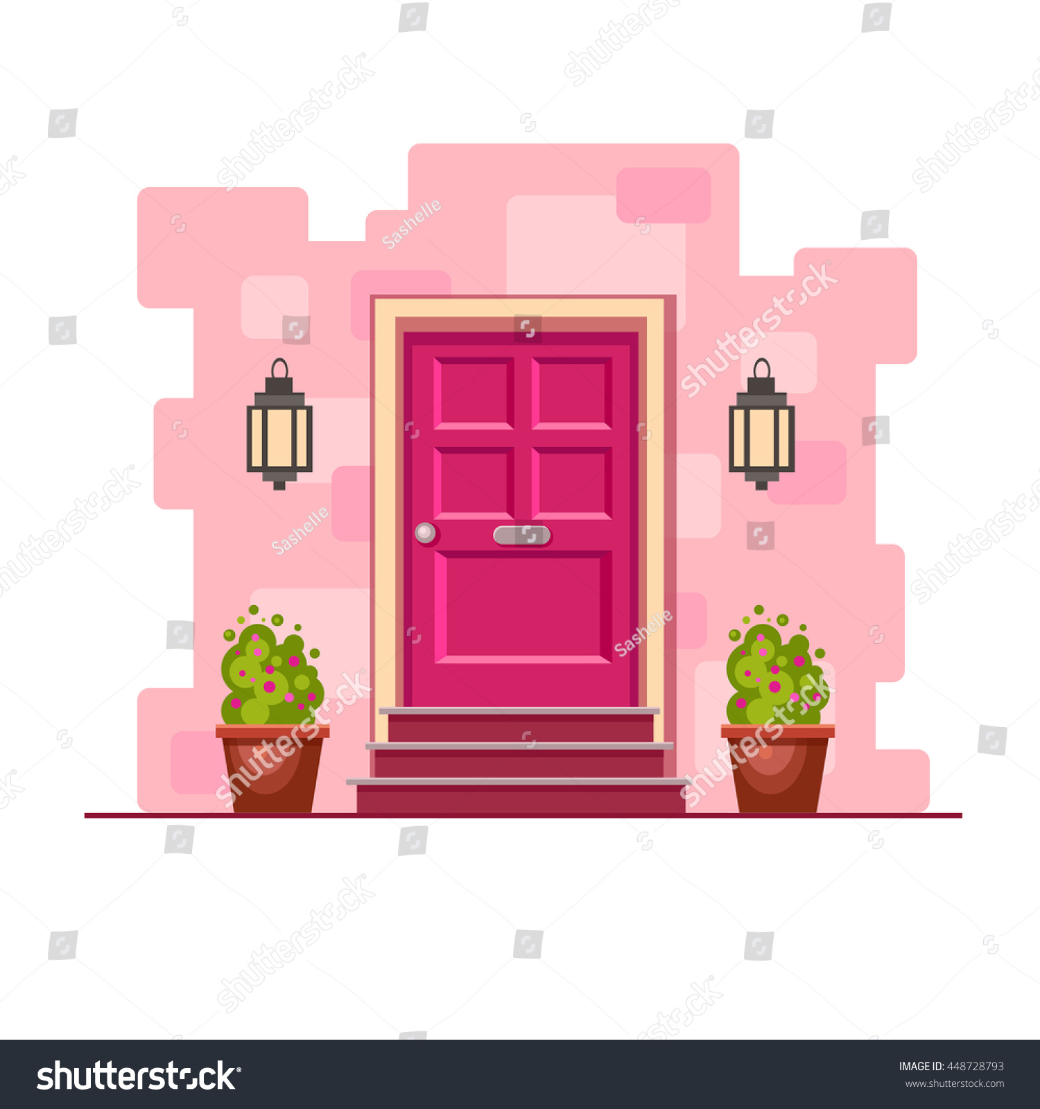 Pink Front Door On Brick Wall Stock Vector (Royalty Free) 448728793 ...