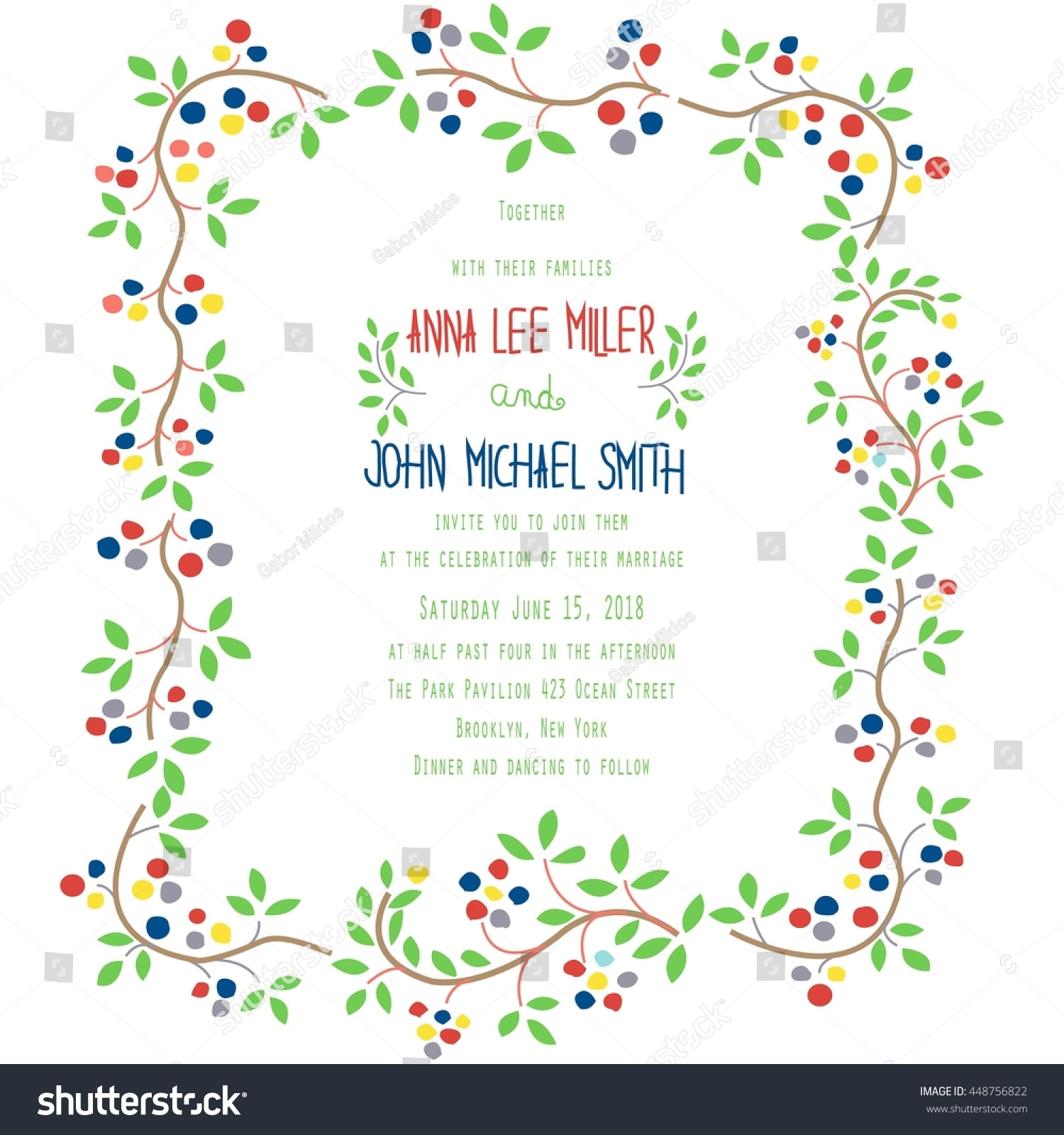 Floral Vintage Wedding Invitation Template Stock Vector 448756822 ...