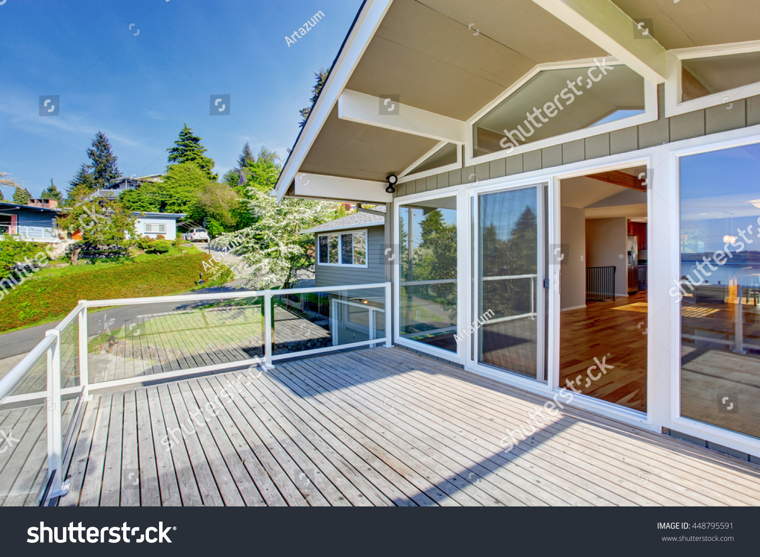 Balcony house exterior glass railings perfect stock photo 448795591 shutterstock - House plans with glass terrace perfect views ...