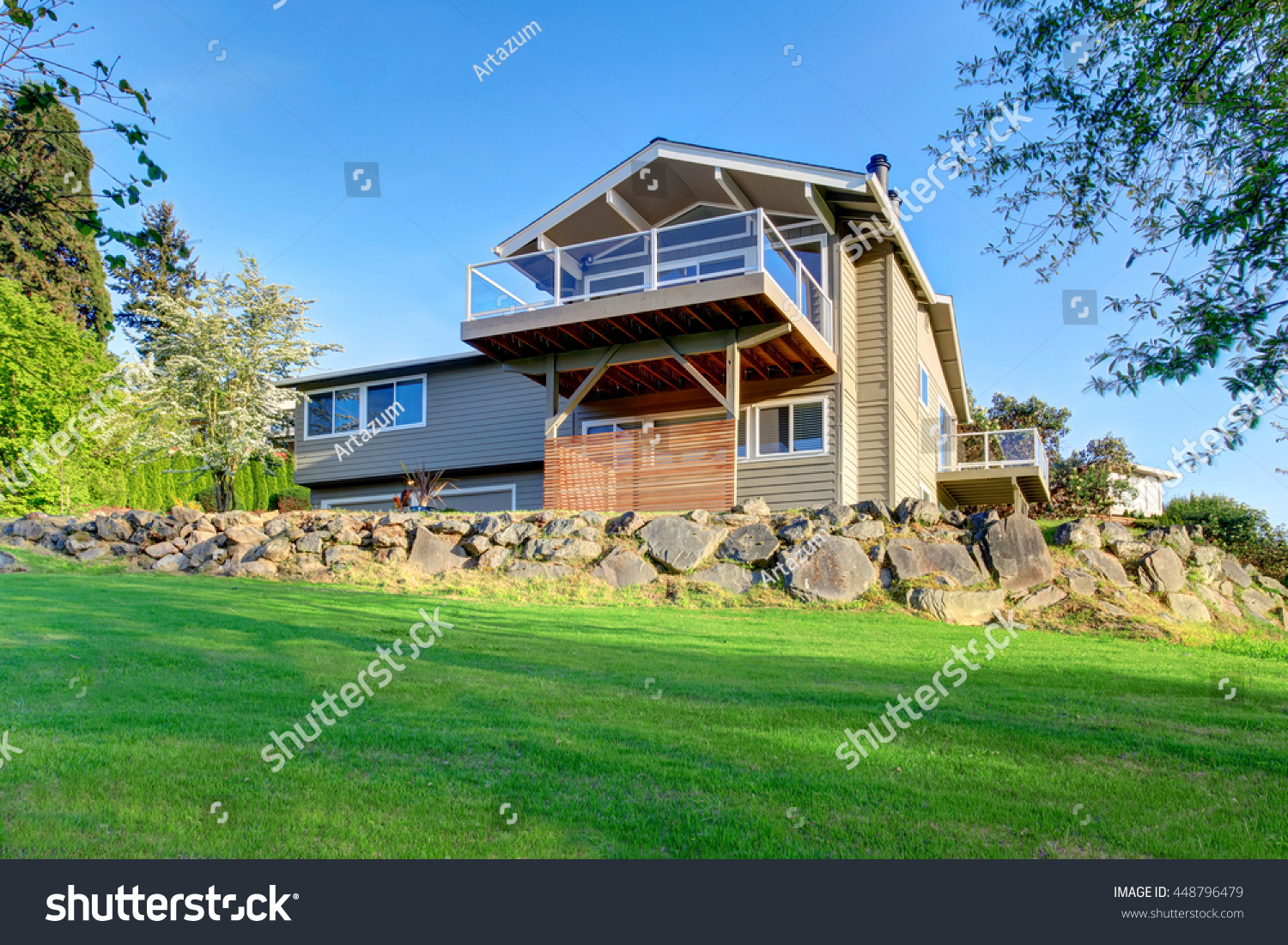 Gray Two Story House Exterior Glass Stock Photo 448796479