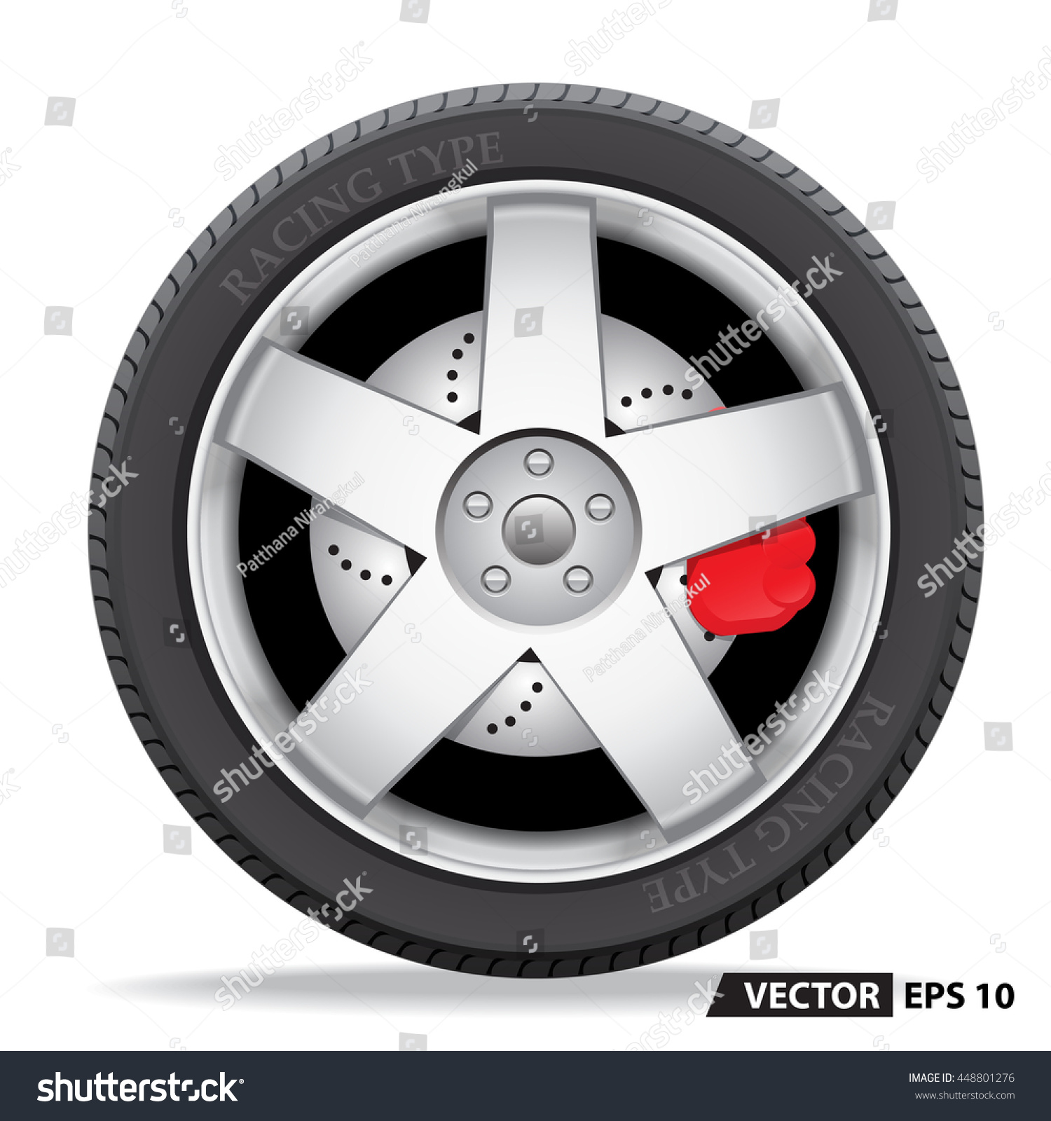 Car Wheel Design On White Background Stock Vector 448801276 ... for Racing Tire Vector  55jwn