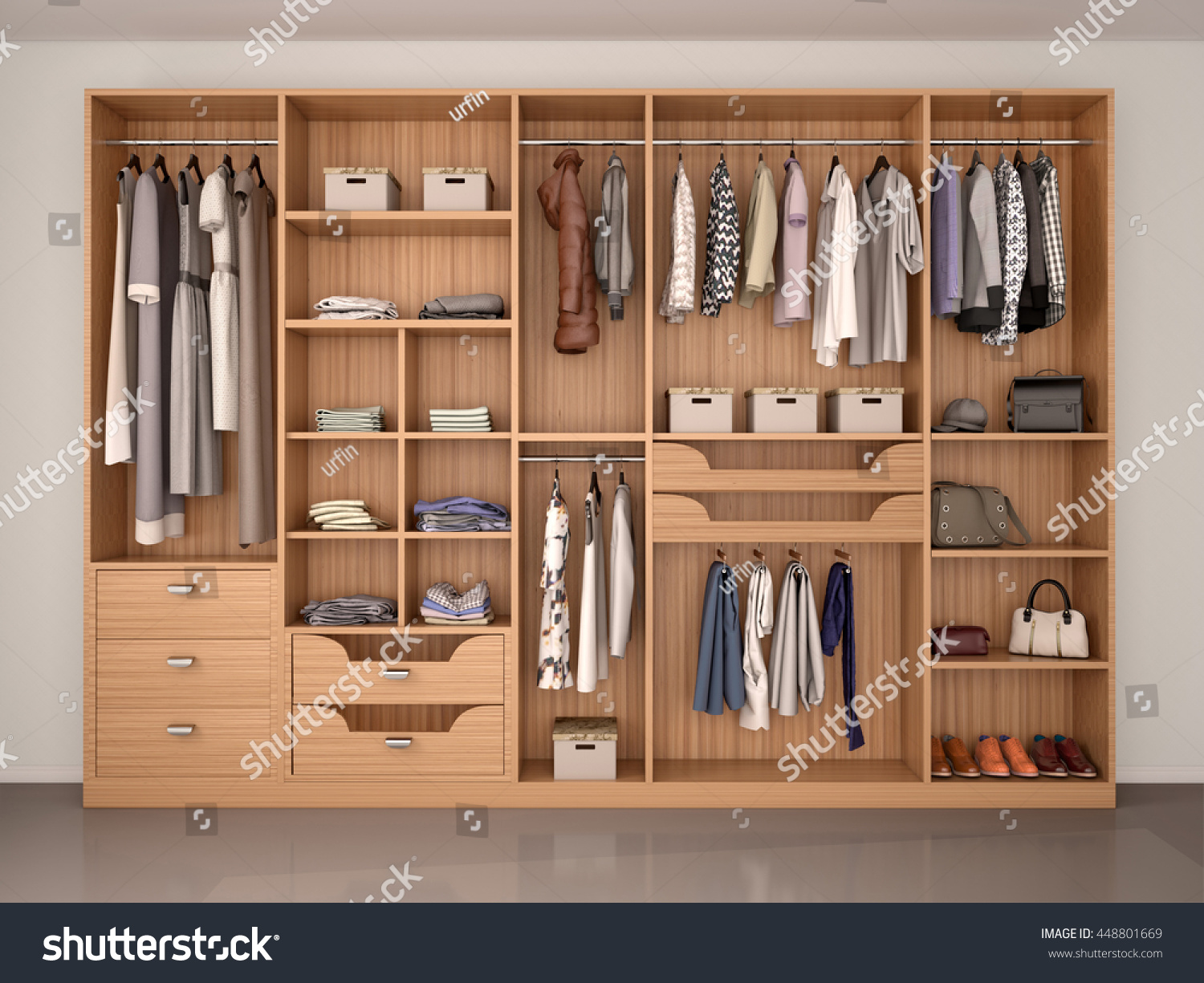 Wooden Wardrobe Closet Full Of Different Things. 3d Illustration