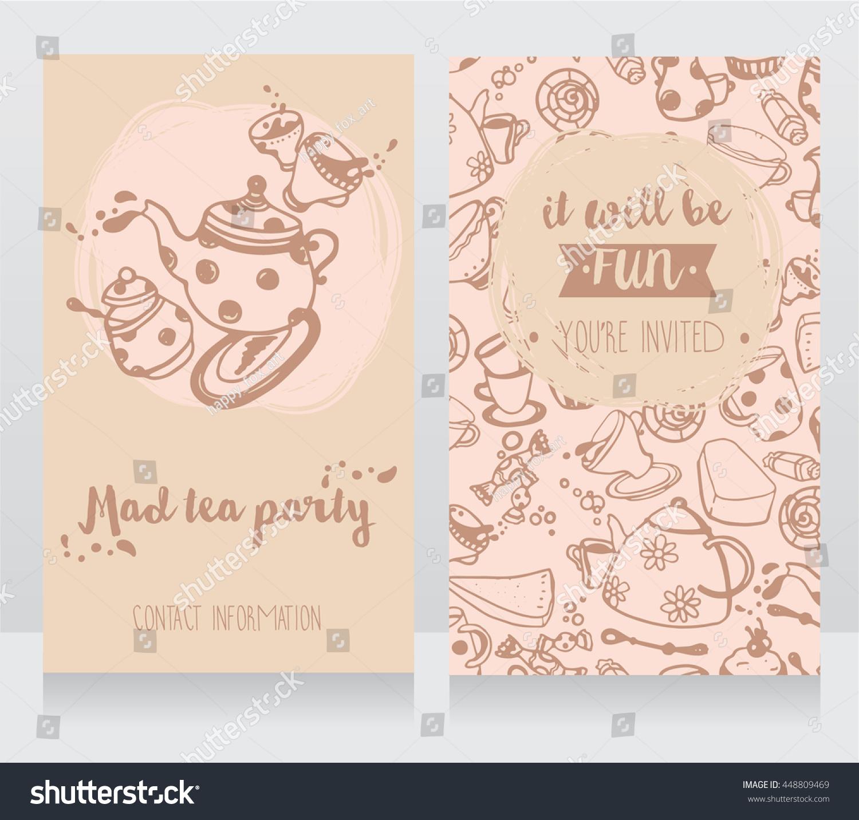 Invitation Card Tea Party Cute Business Stock Vector 448809469 ...