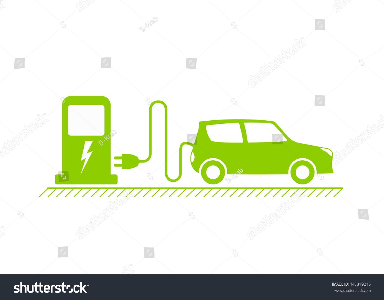 Electric Car Electrical Charging Station Symbol Stock-Vektorgrafik ...