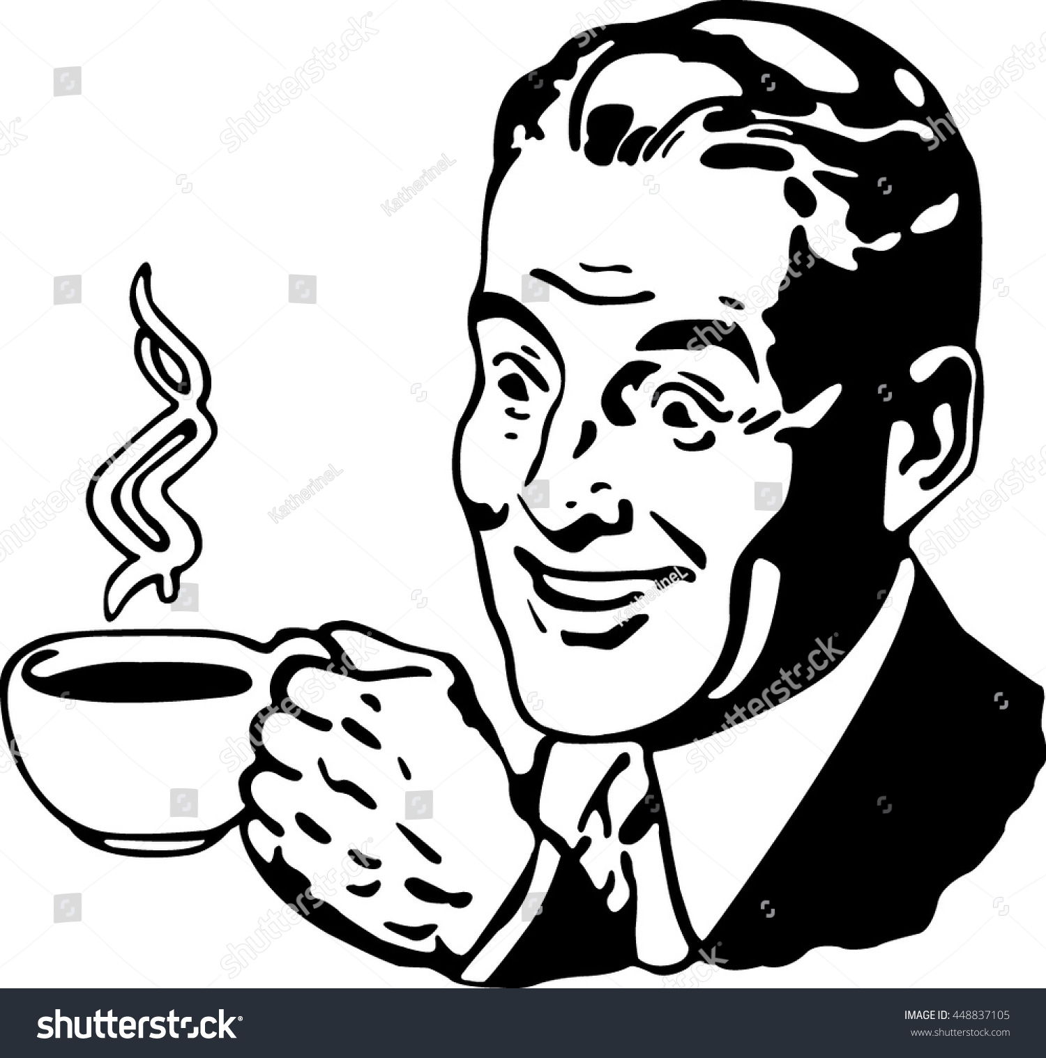 Black Guy Drinking Coffee Clipart