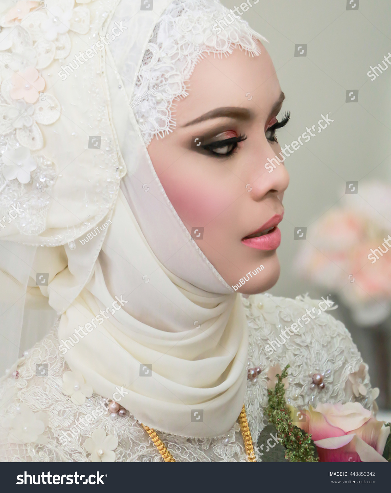 Beautiful Muslim Bride White Wedding Dress Stock Photo (Royalty Free ...