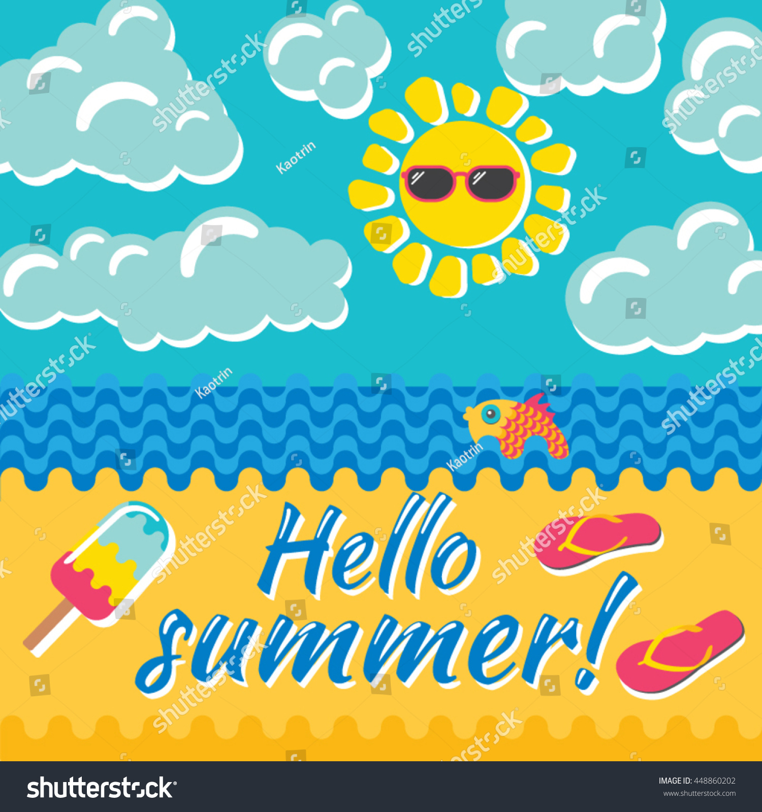 Hello Summer Time. Summer Holidays And Beach Vacation Vector Illustration.  Beach Items On The
