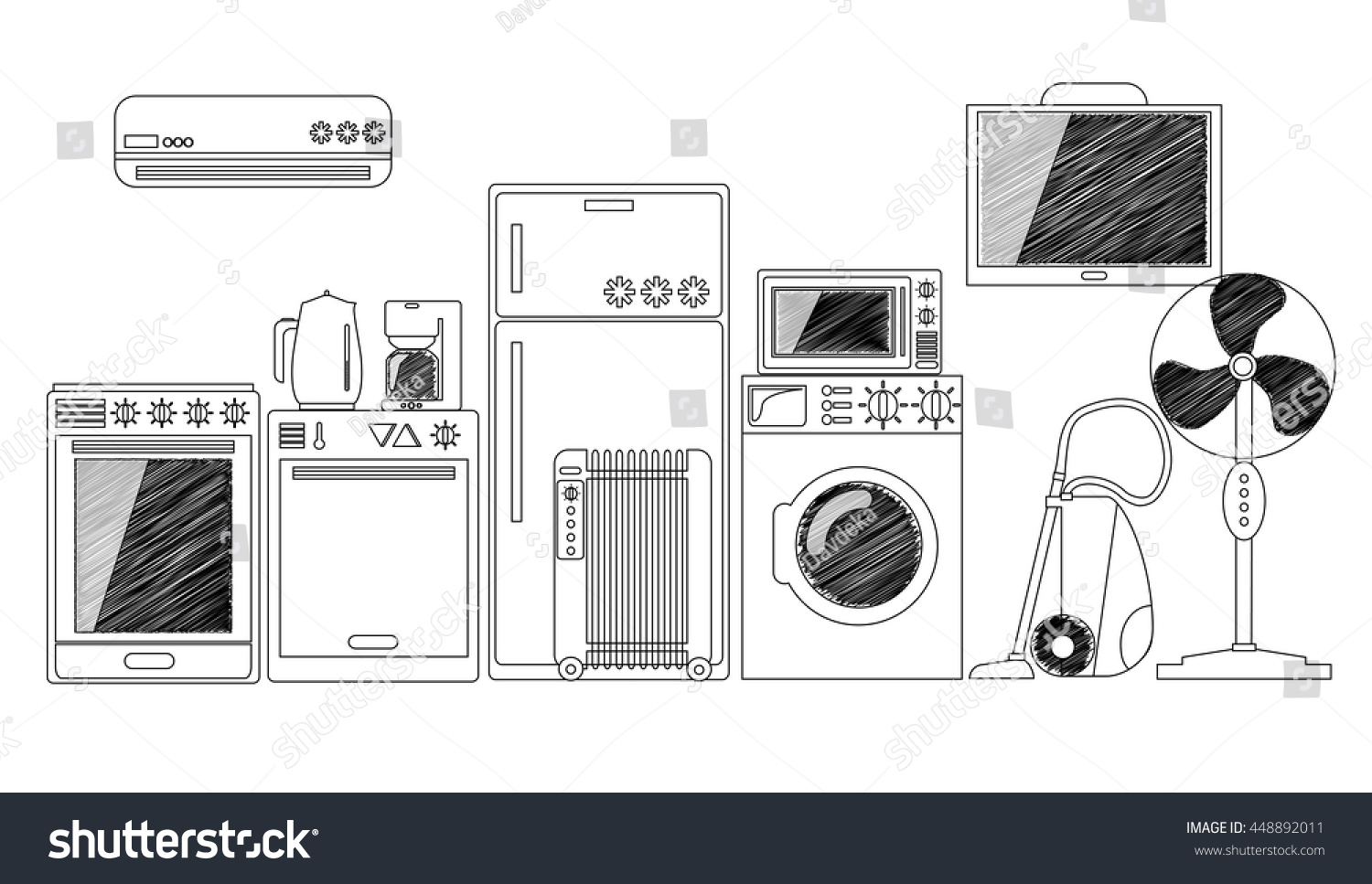 Electric House Appliances, Monochrome Outlined Vector Illustration. Black  And White Home Electronics. Comfort Part 56