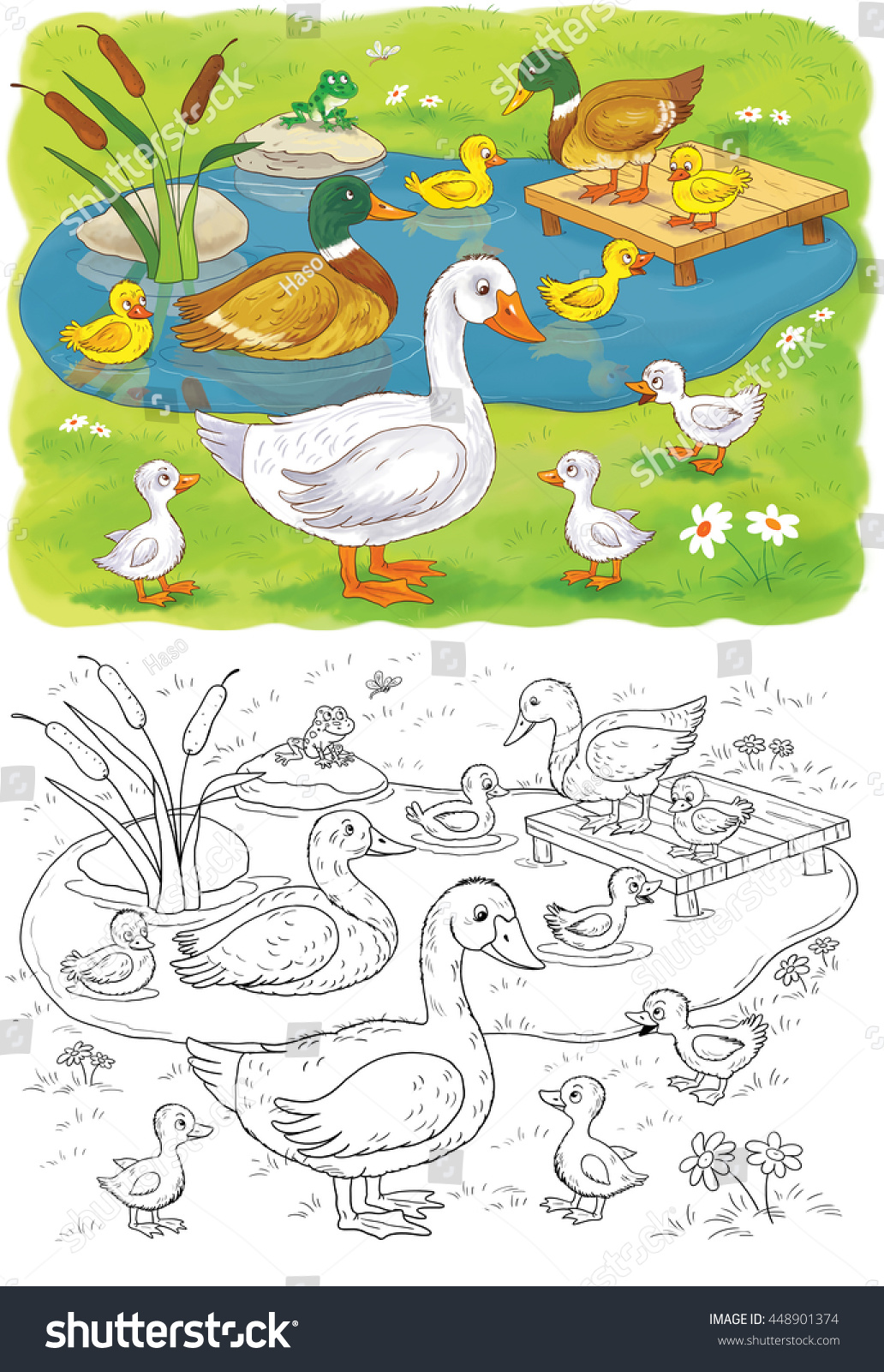 farm domestic animals cute duck ducklings stock illustration