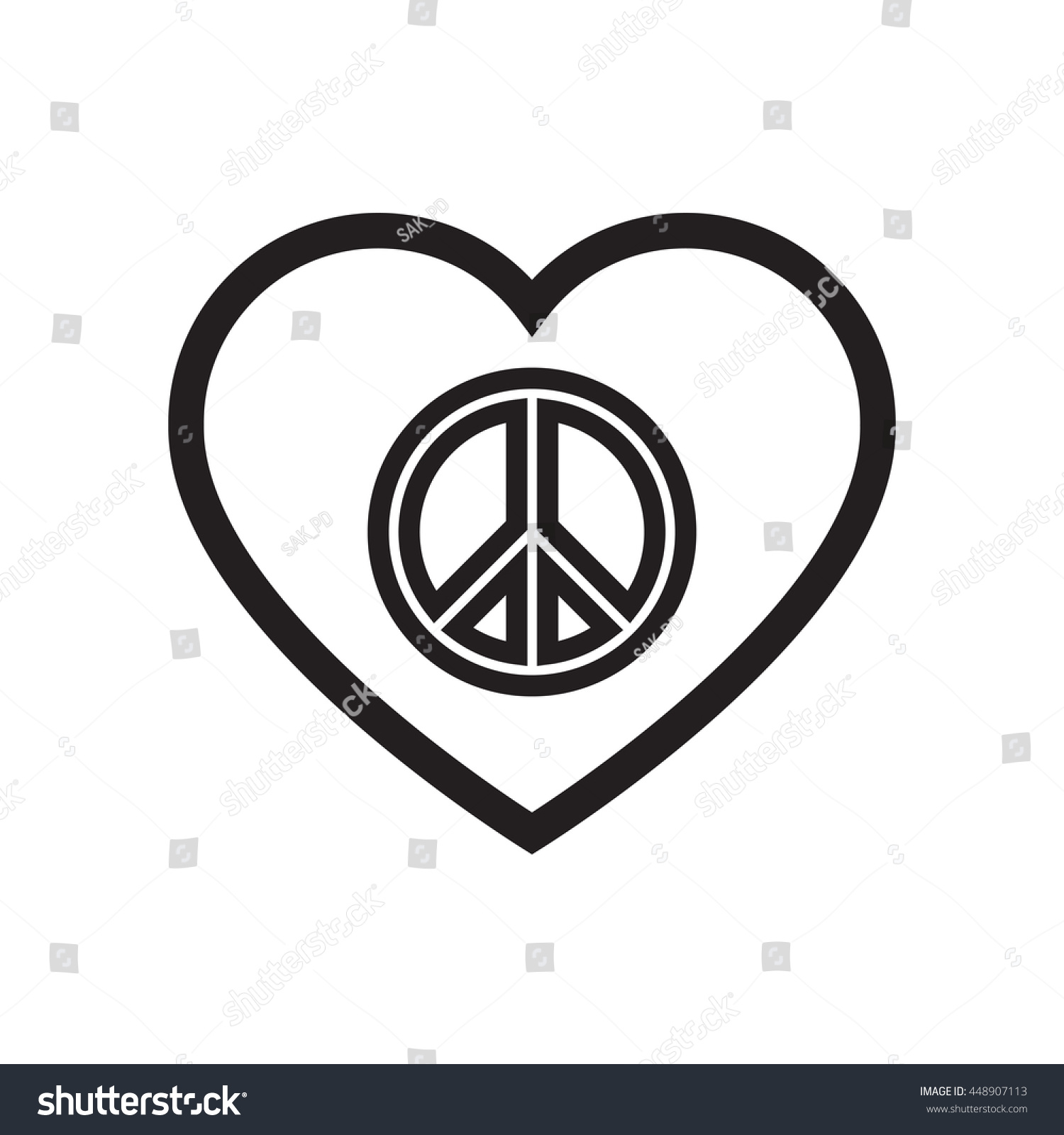 Peace symbol inside heart shapesign peace stock vector 448907113 peace symbol inside heart shapegn of peace for international peace day on september biocorpaavc