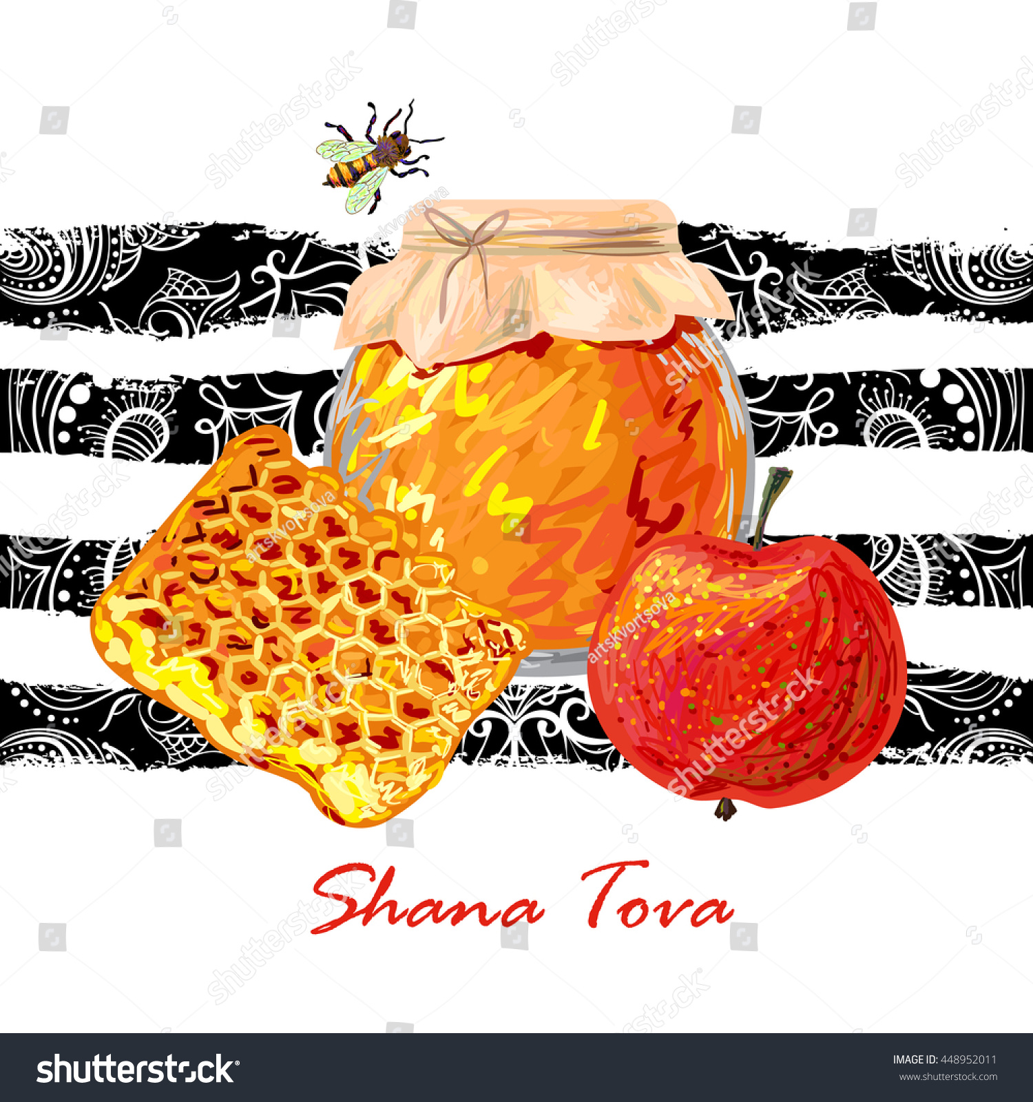 greeting card wiyh symbols of rosh hashanah honey bee and red apple