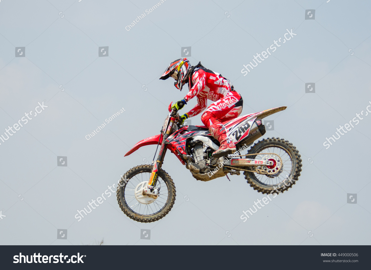 SUPHANBURI MARCH 06 Tim Gajser #243 with Honda Motorcycle in competes during the FIM MXGP Motocross Wolrd Championship Grand Prix of Thailand 2016 on March 06 2016 in Suphanburi Thailand