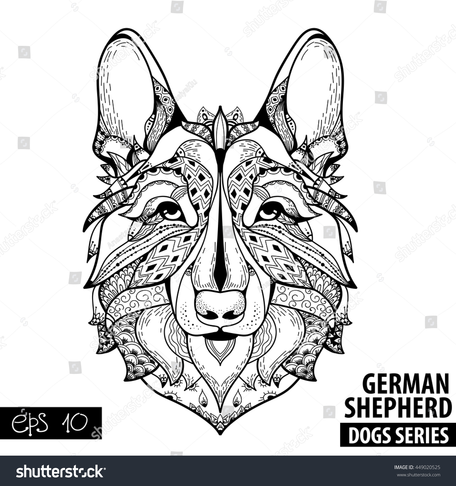 zentangle stylized cartoon german shepherd hand stock vector