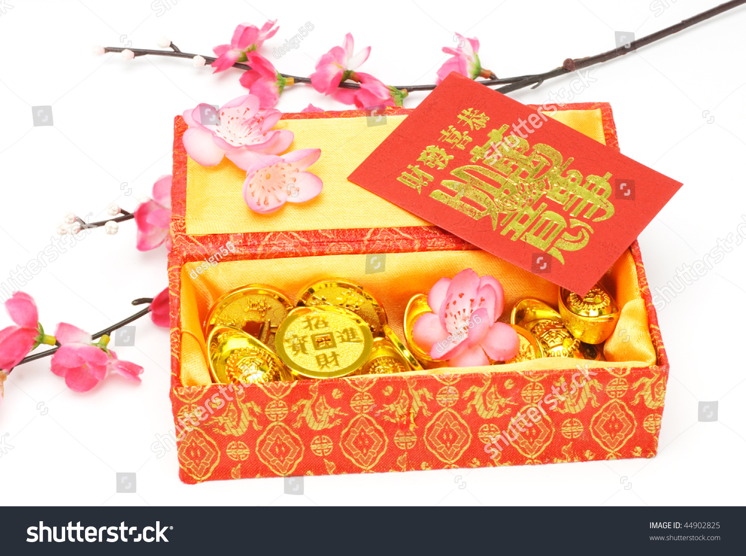 chinese new year gift box red packets and ornaments on white background - Gifts For Chinese New Year