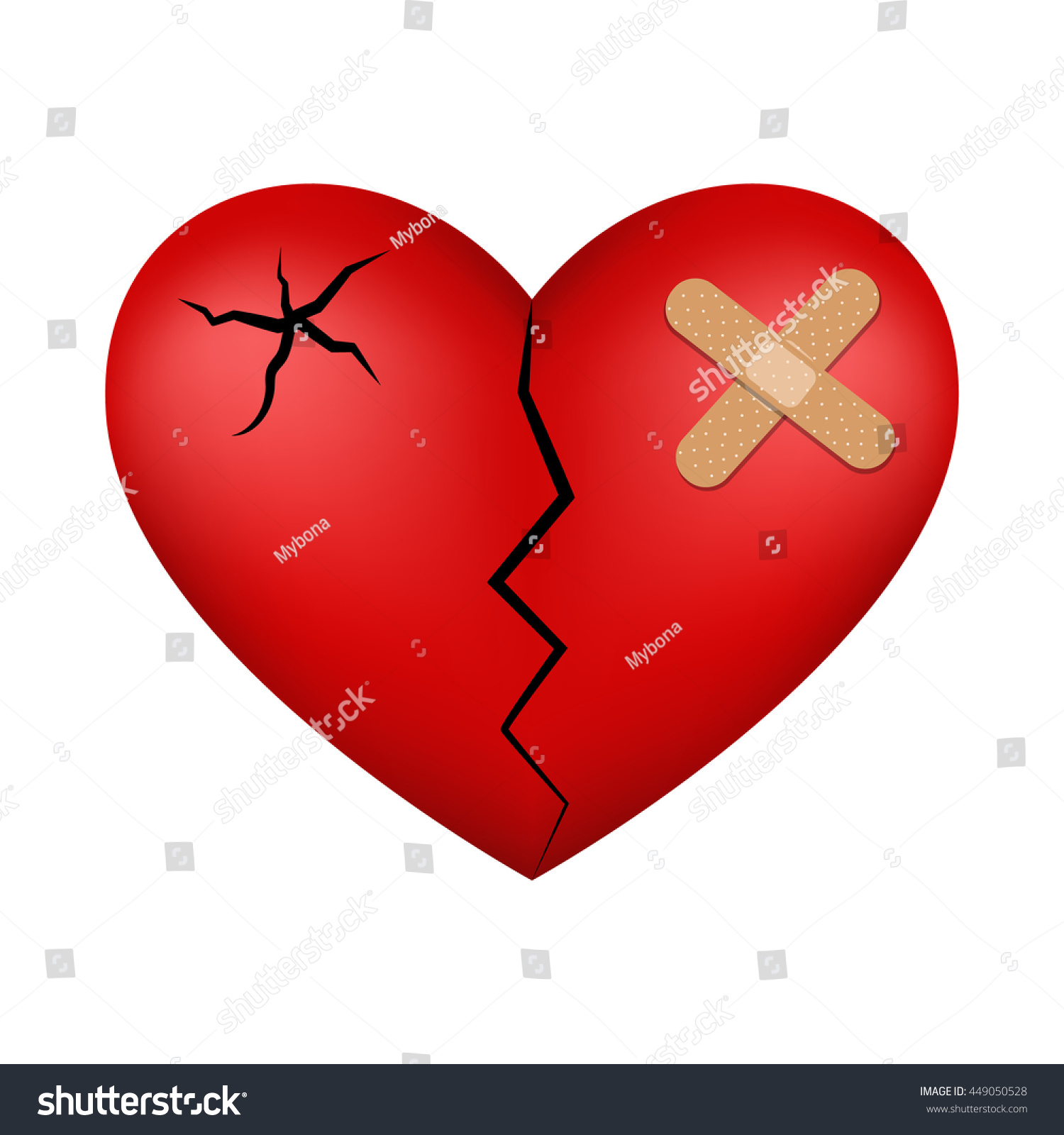 Cute Clip Art - Mending Broken Heart, Broken Heart With Plaster ...