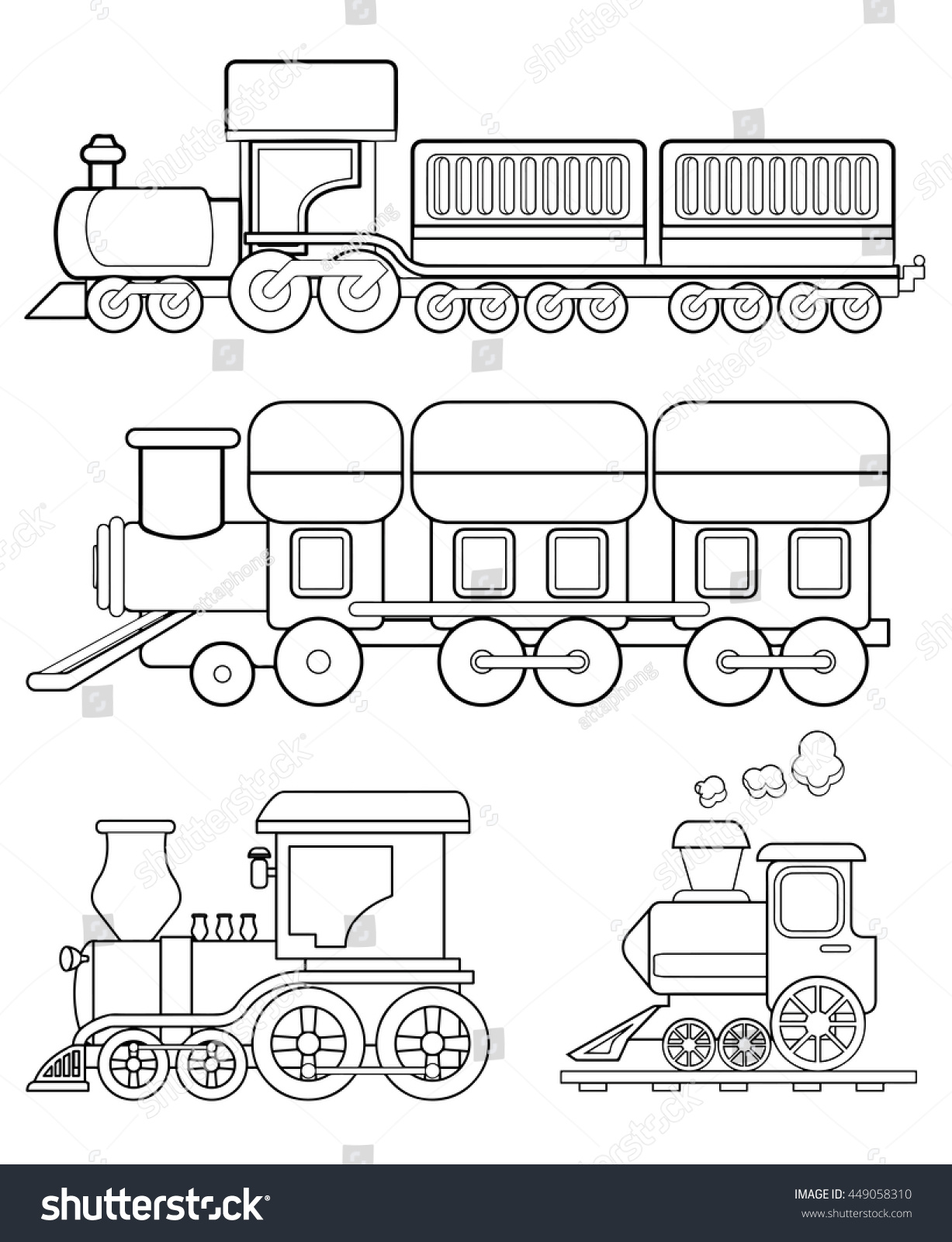 train coloring page vector stock vector 449058310 shutterstock