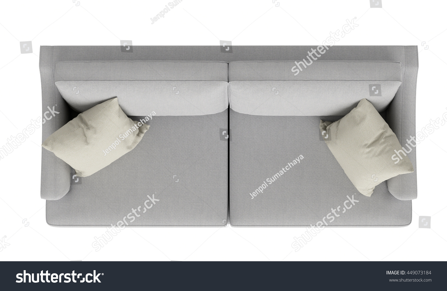 Modern Grey Sofa ,Top View, Isolated On White Background ...