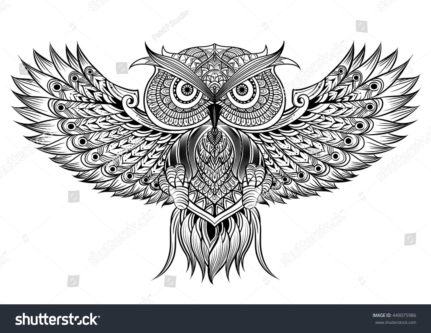 Vector Hand Drawn Owl Black White Stock Vector (Royalty Free ...