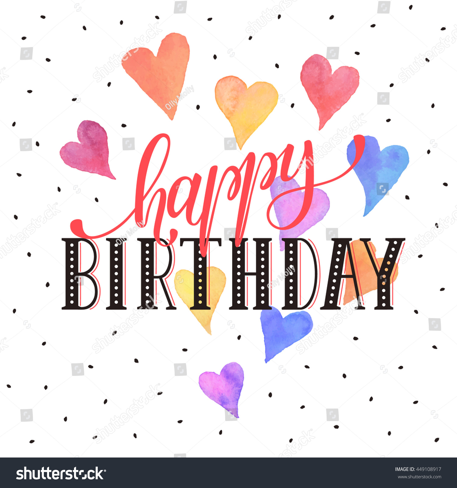 Happy Birthday Greeting Card Colorful Watercolor Stock Vector