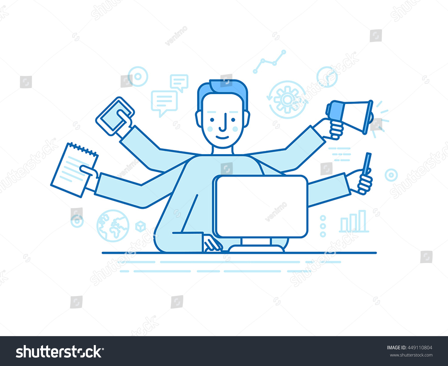 home office multitasking. exellent office vector self employment concept in trendy flat linear style  multitasking  freelancer man working on and home office multitasking