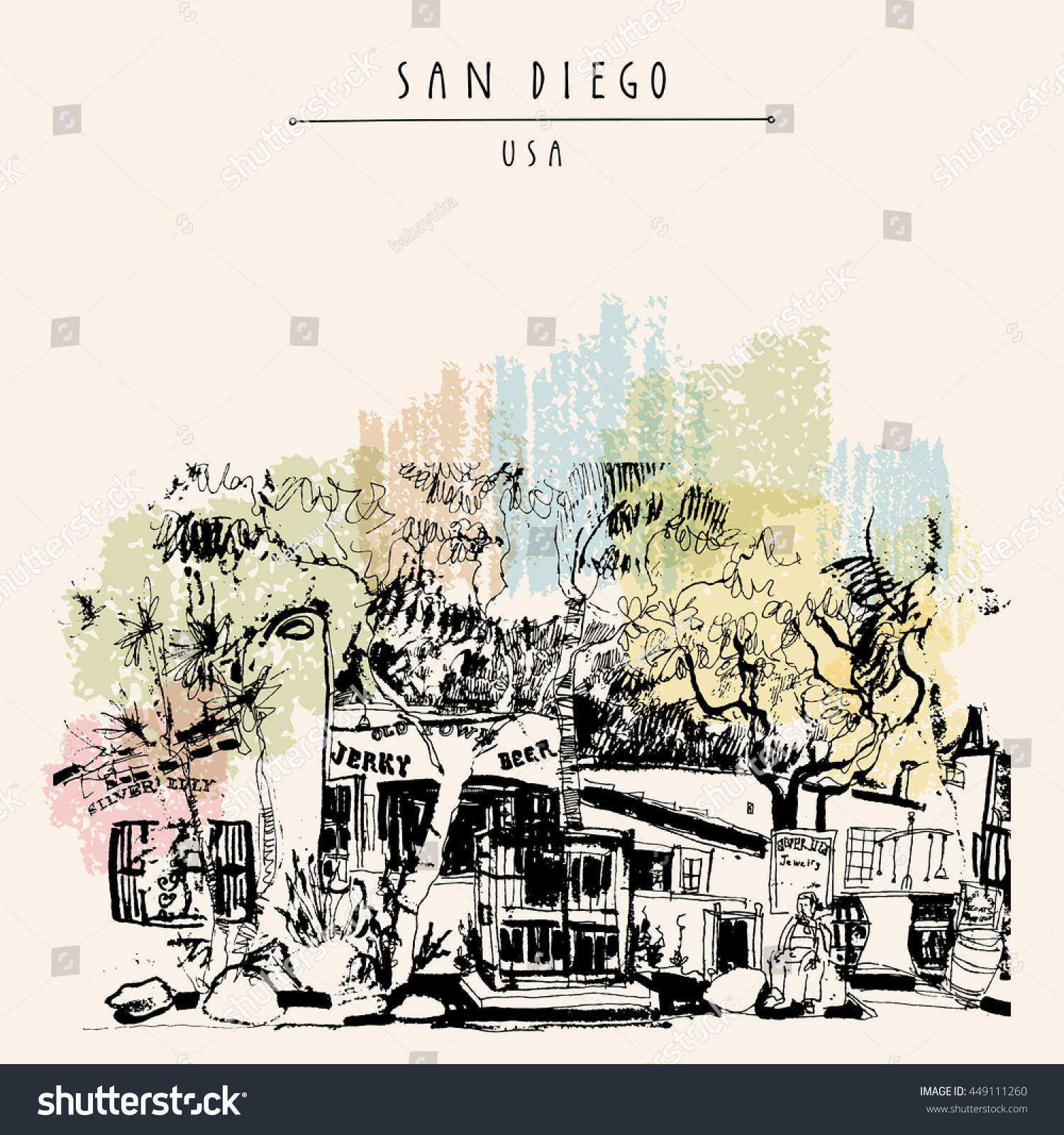Old Town Historic Buildings San Diego Stock Vector 449111260 ...