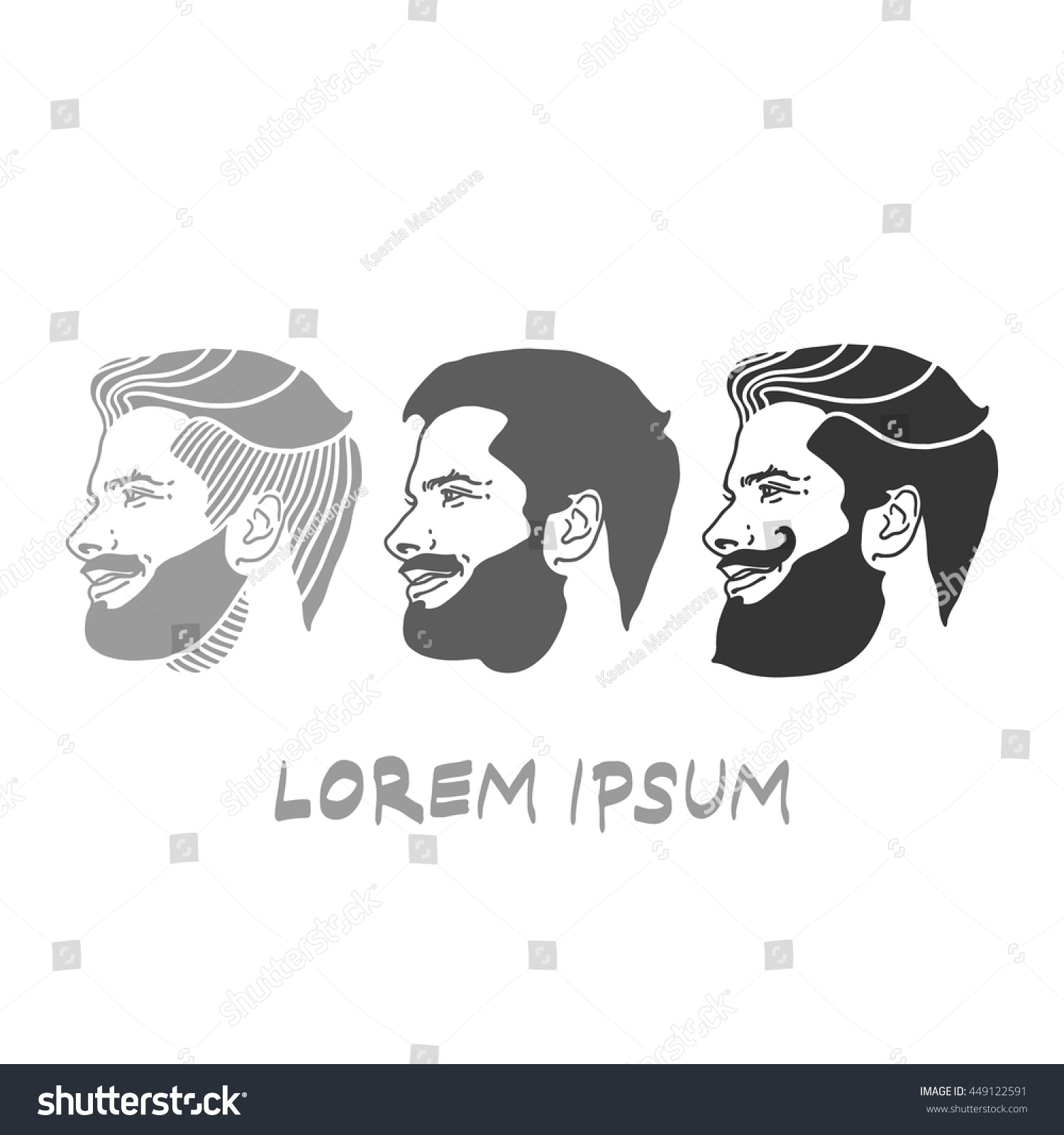 set men hairstyles vector logo label stock-vektorgrafik 449122591