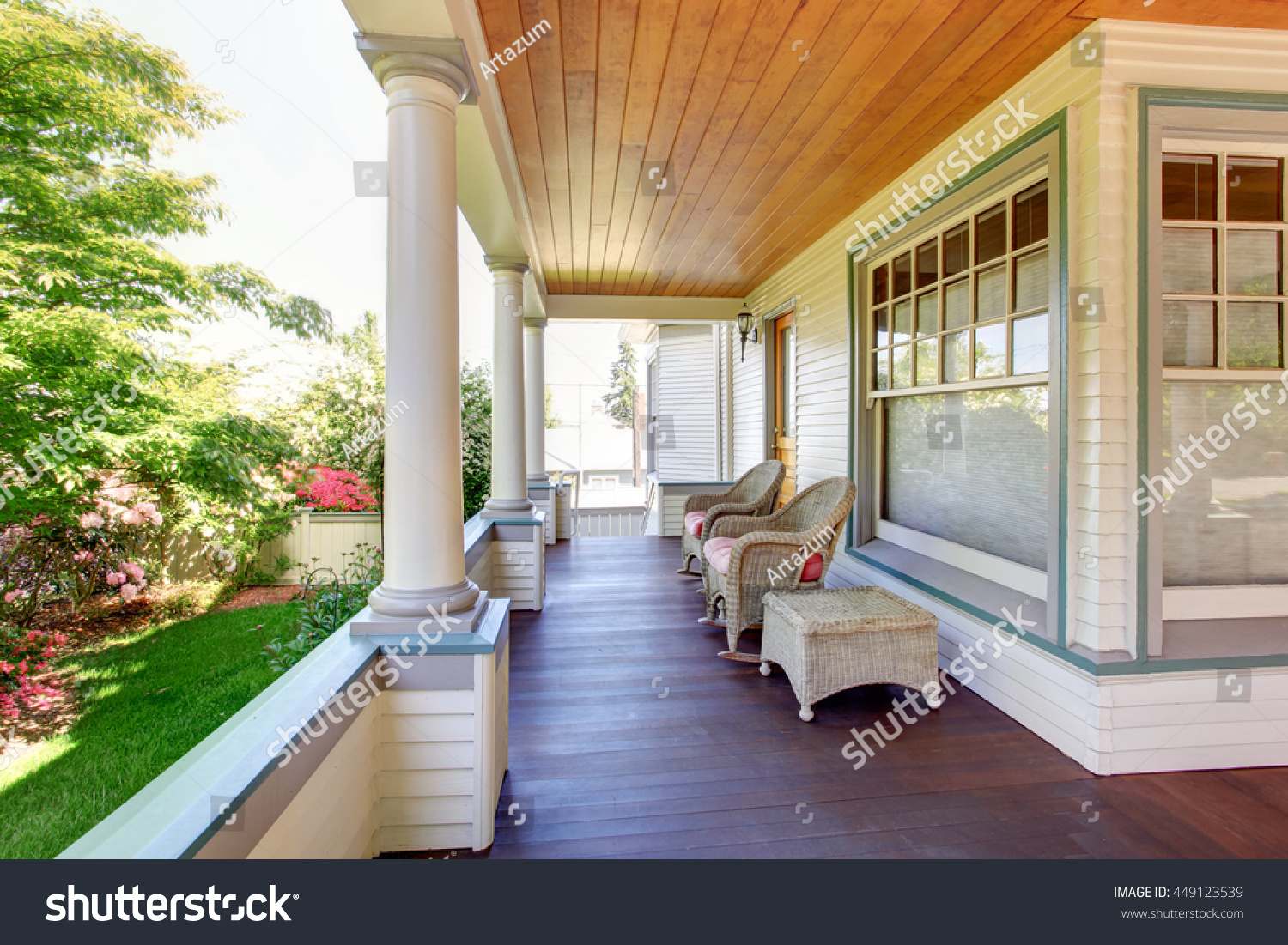 Covered front porch craftsman style home royalty free stock image - Front Porch With Chairs And Columns Of Craftsman Style Home