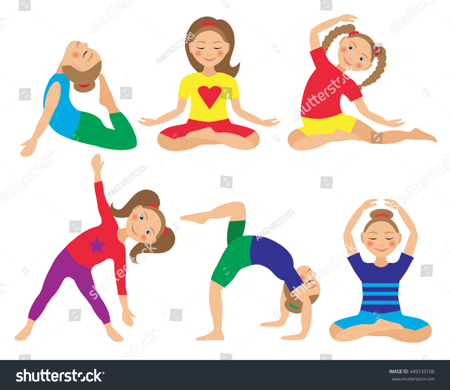 Kids Yoga Poses Vector Illustration Child Stock Vector Royalty Free 449133106