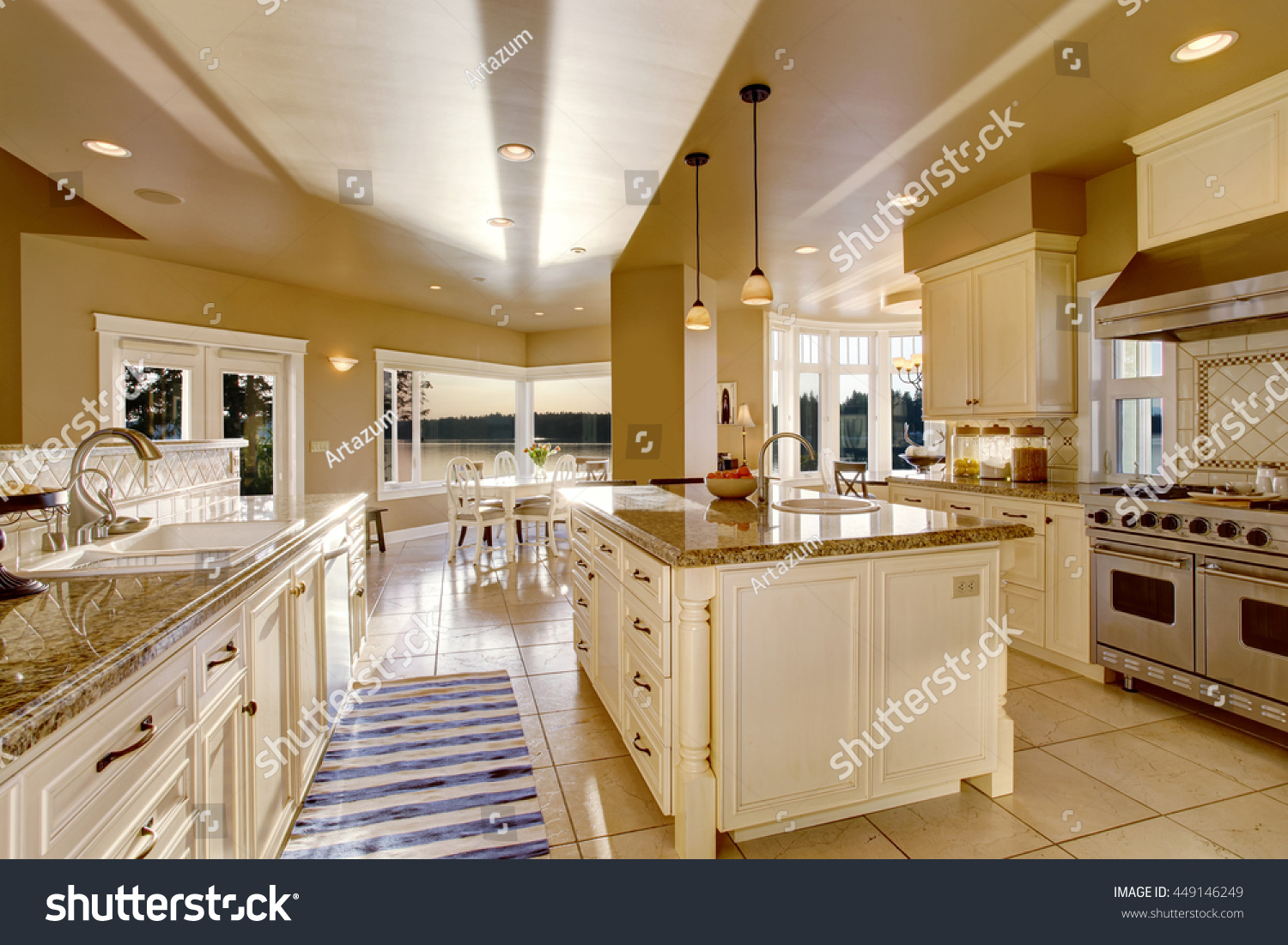 Large luxury kitchen room beige colors stock photo 449146249 shutterstock - Luxury kitchen room ...