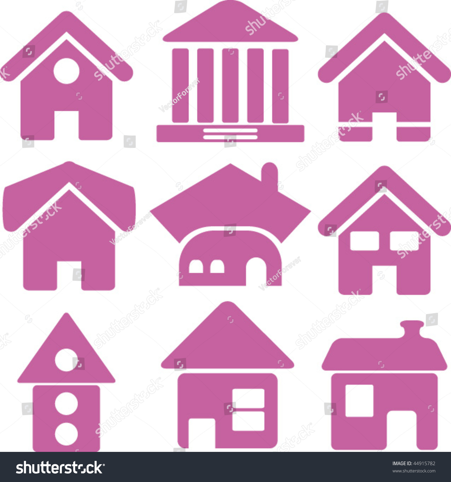 Pink Houses Vector Stock Vector (Royalty Free) 44915782 - Shutterstock