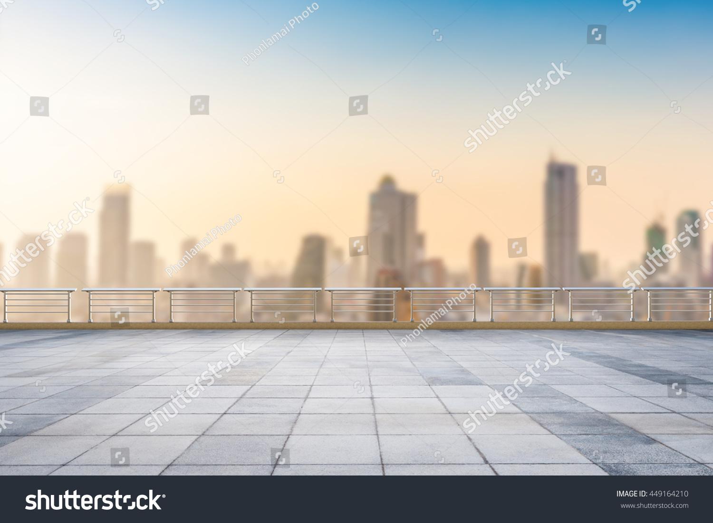 Roof Top Balcony Cityscape Background Stock Photo