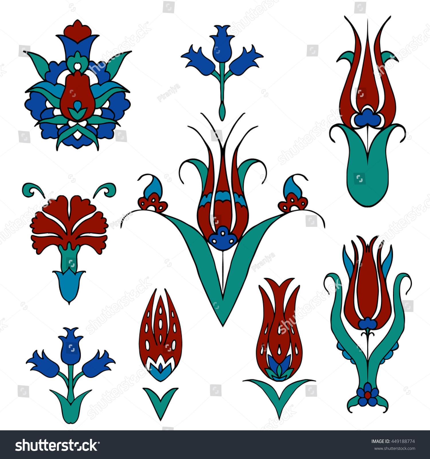 Traditional Ottoman Tulip Watercolor Wall Art Turkish Floral: Set Islamic Floral Design Turkish Tulip Stock Vector